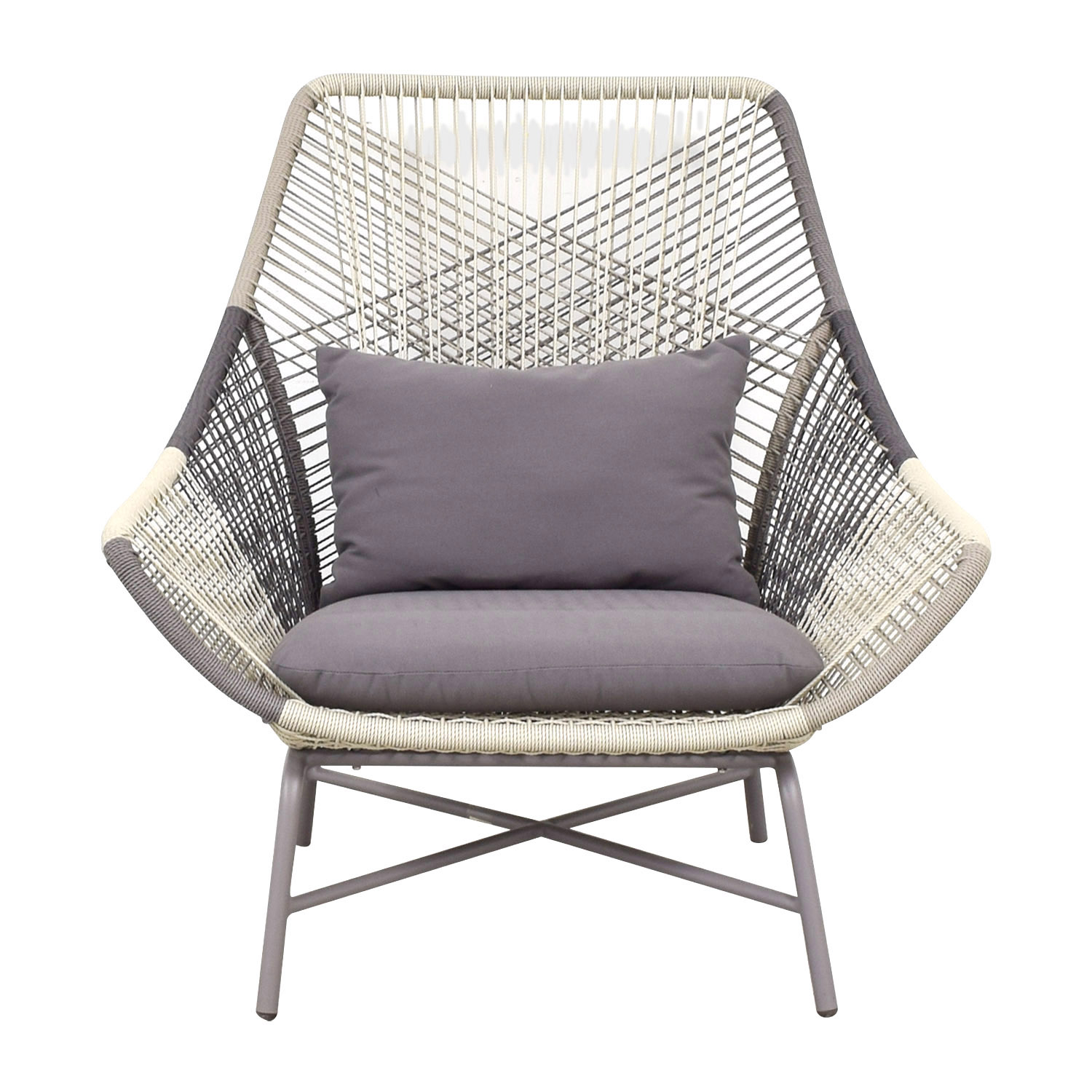 shop West Elm Huron Grey and White Lounge Chair West Elm Chairs
