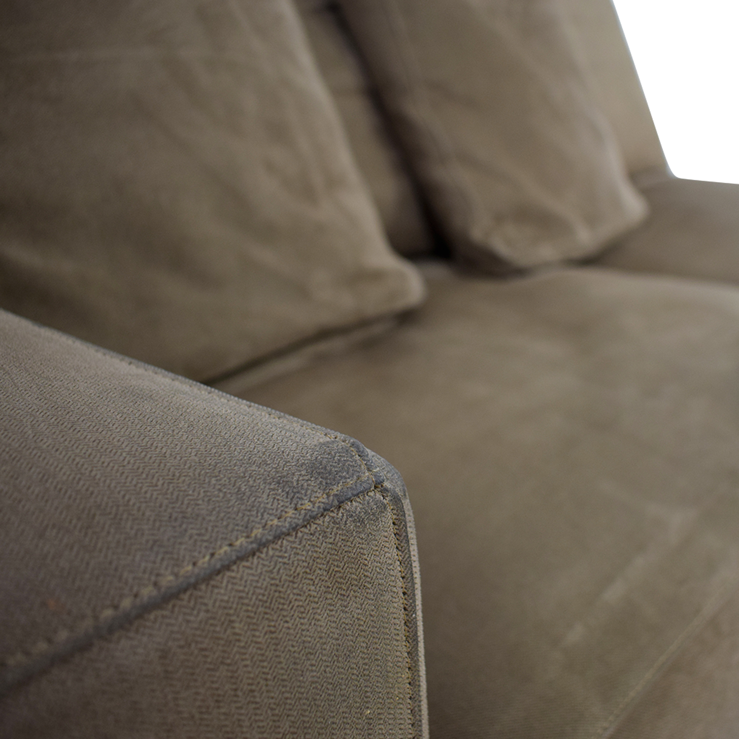 Crate & Barrel Grey Two-Cushion One Armed Sofa / Classic Sofas