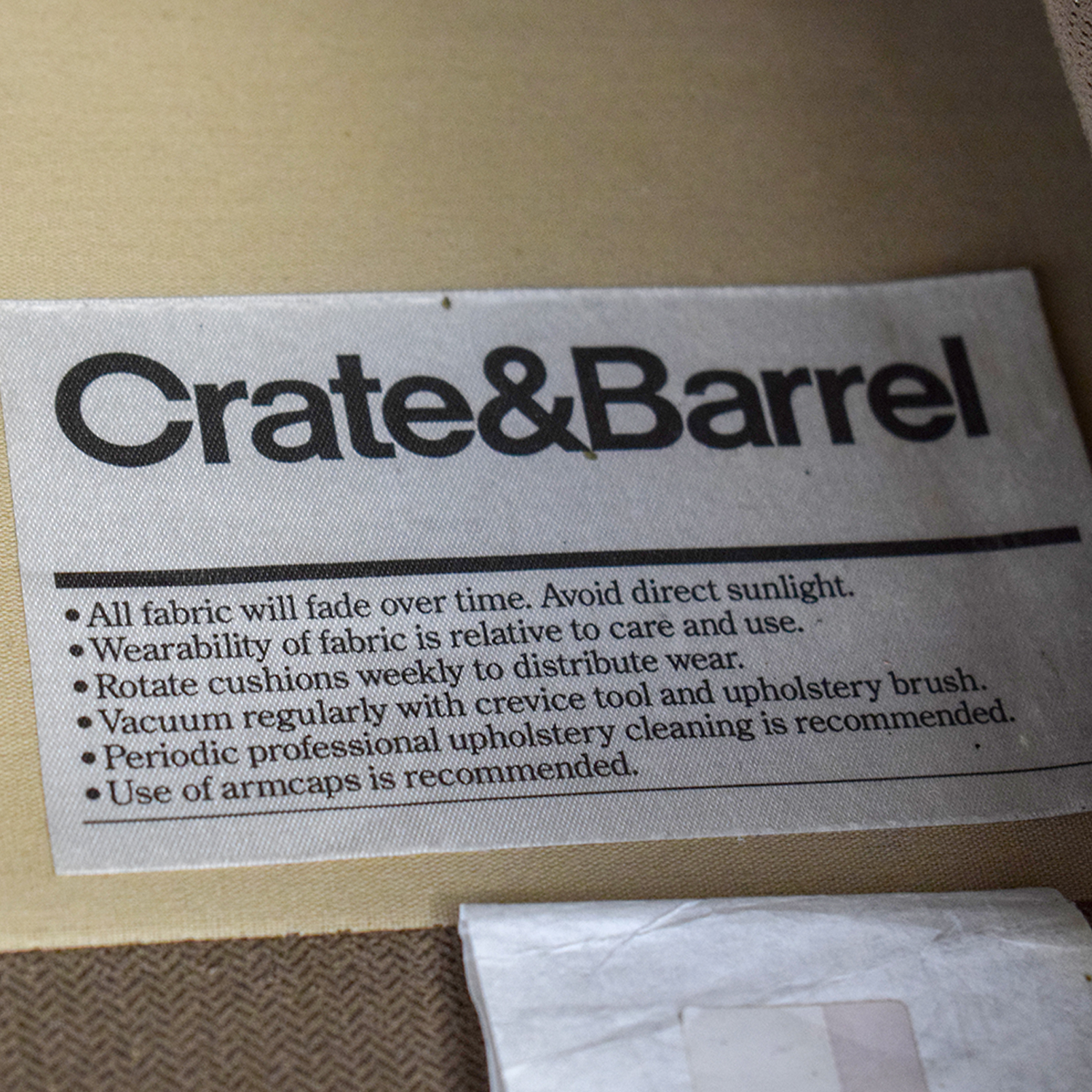 Crate & Barrel Grey Two-Cushion One Armed Sofa sale