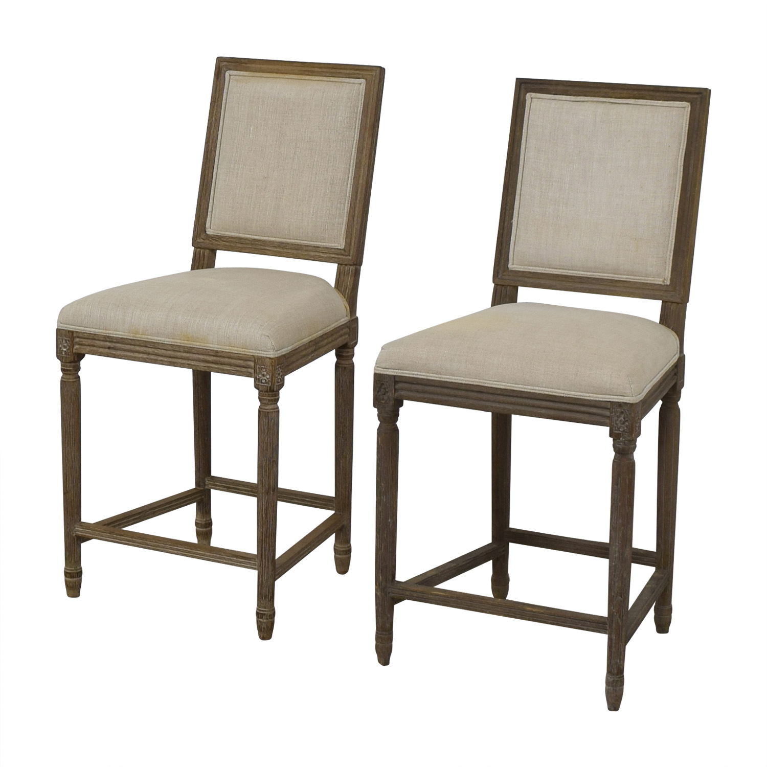 Restoration Hardware Restoration Hardware Vintage French Square Counter Stools Dining Chairs