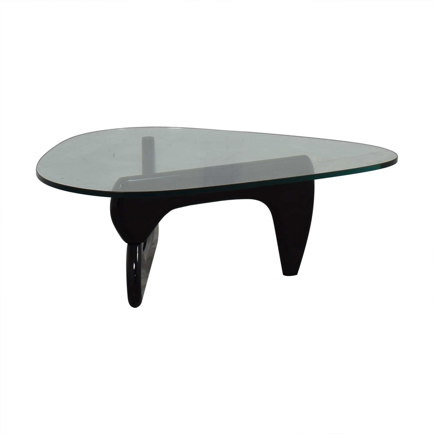 Maurice Villency Maurice Villency Noguchi Style Glass with Black Lacquer Coffee Table nyc