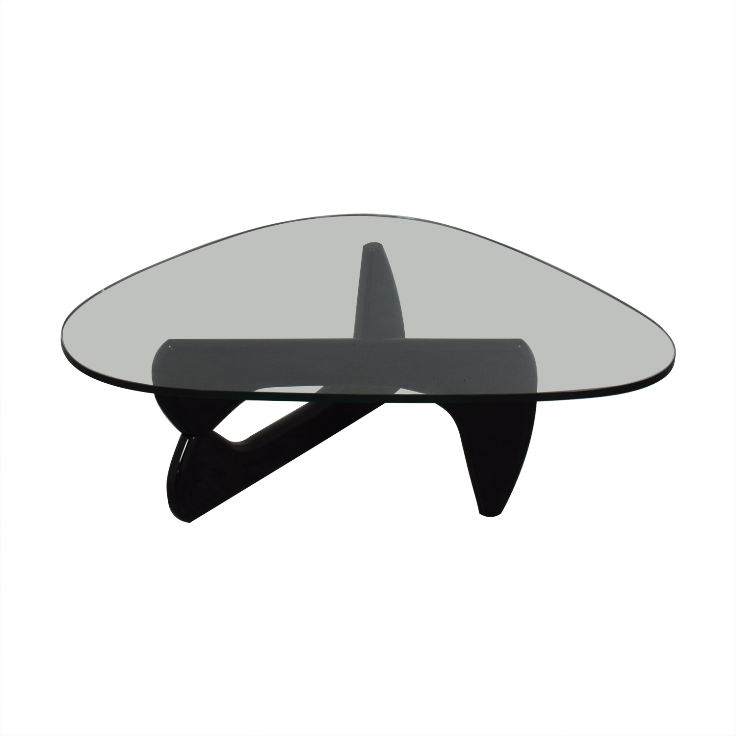 Maurice Villency Maurice Villency Noguchi Style Glass with Black Lacquer Coffee Table on sale