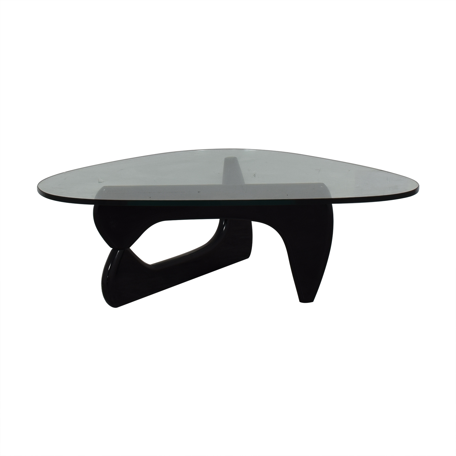 buy Maurice Villency Noguchi Style Glass with Black Lacquer Coffee Table Maurice Villency Coffee Tables