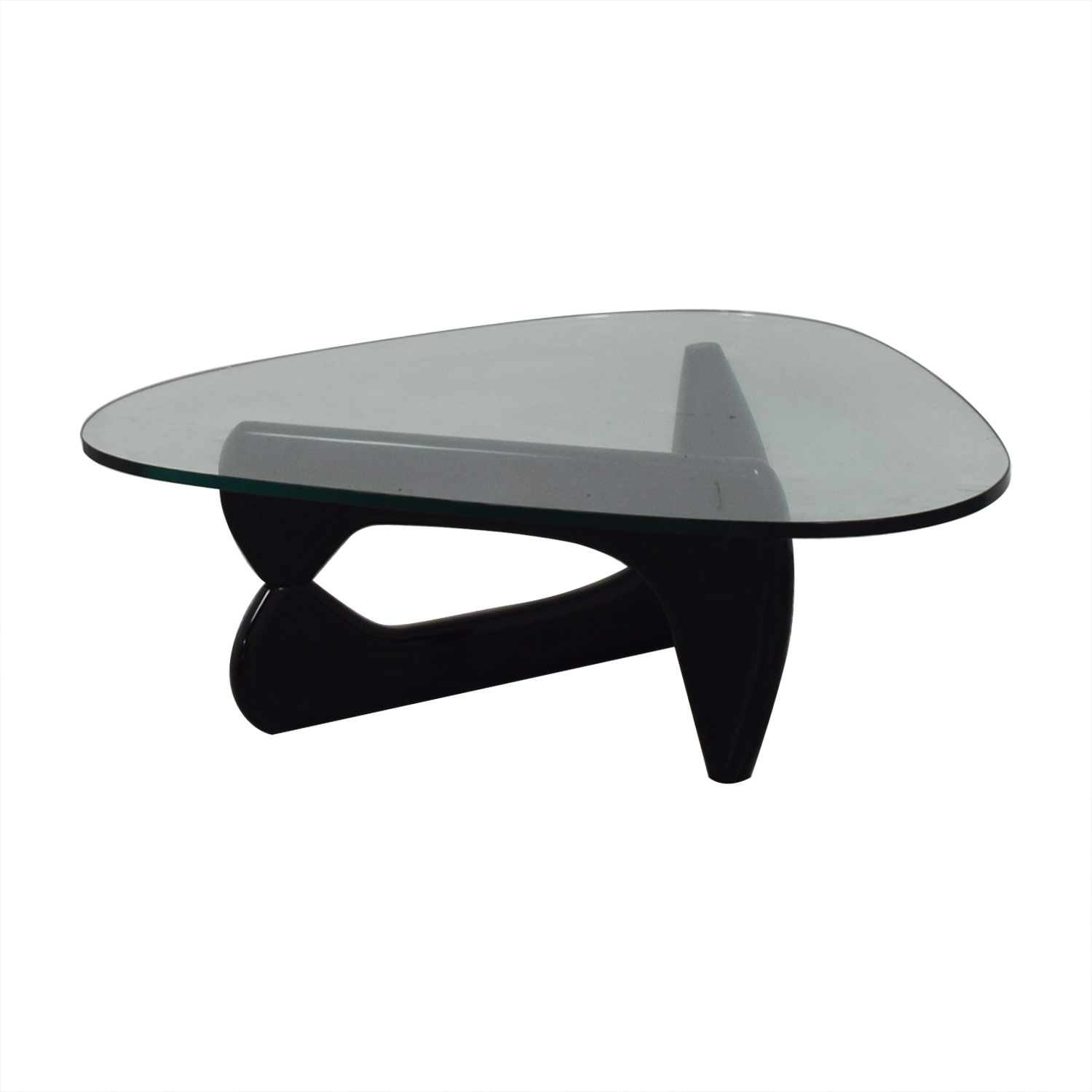 Maurice Villency Maurice Villency Noguchi Style Glass with Black Lacquer Coffee Table nj