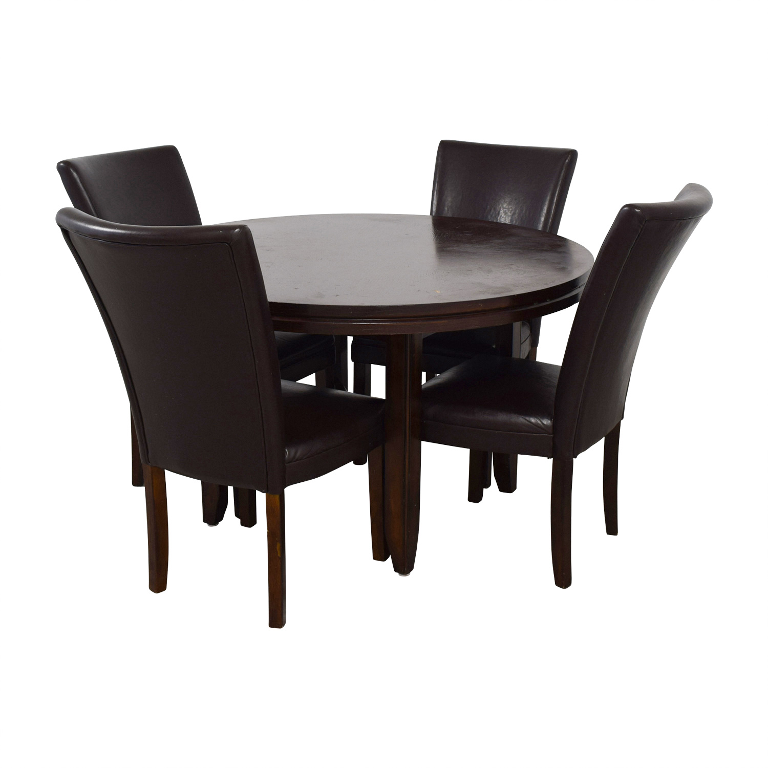 ... Shop Round Wood Dining Table With Black Leather Chairs Dining Sets ...