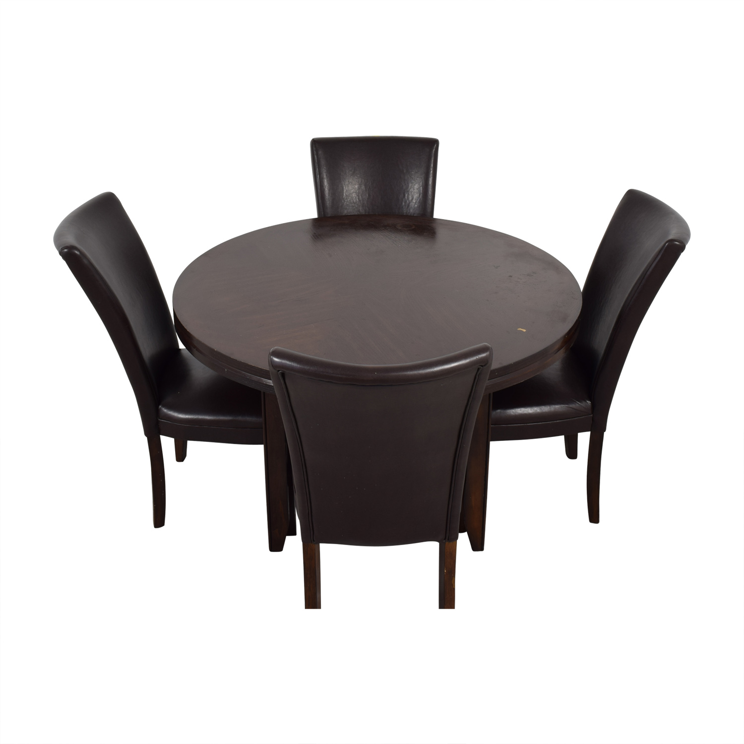 buy Round Wood Dining Table with Black Leather Chairs