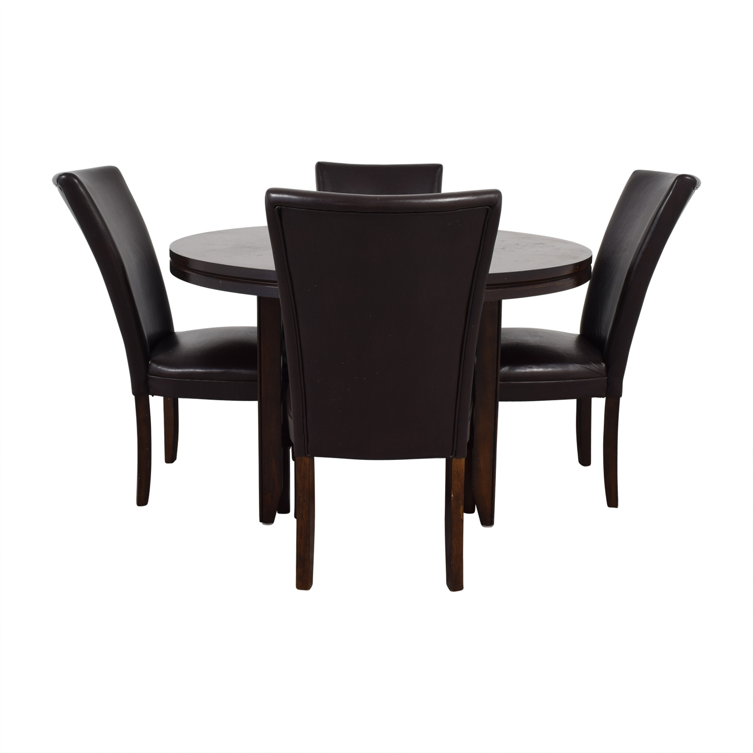 Round Wood Dining Table with Black Leather Chairs discount