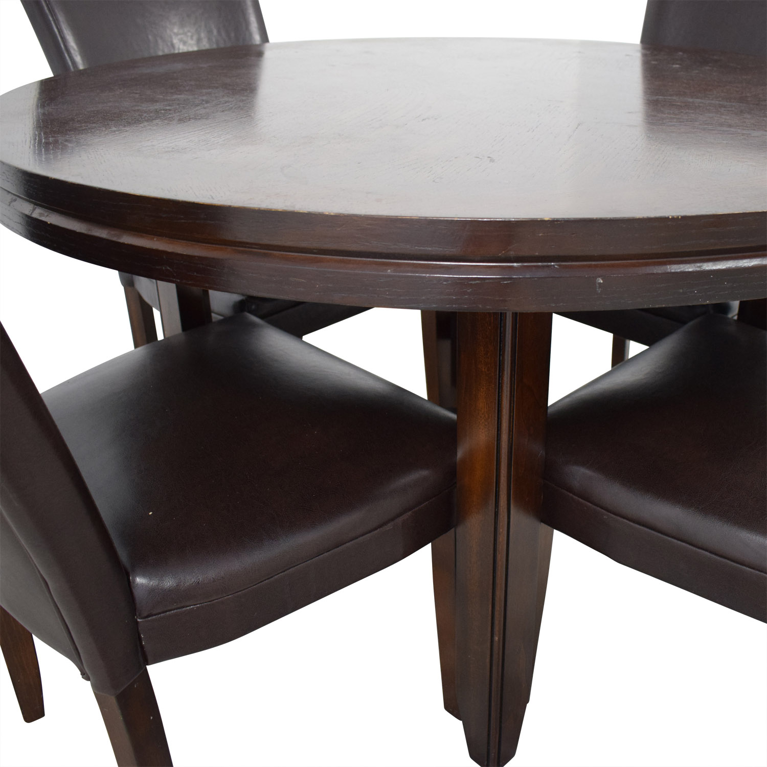 87 off round wood dining table with black leather. Black Bedroom Furniture Sets. Home Design Ideas