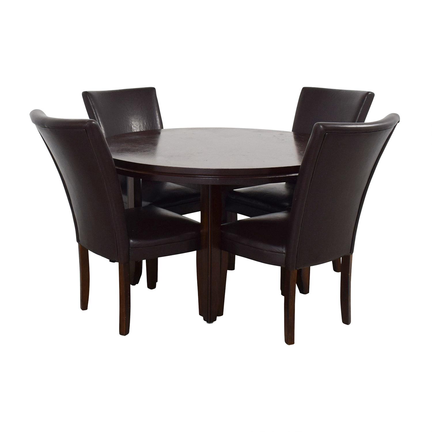 Leather Table Chairs: Round Wood Dining Table With Black Leather