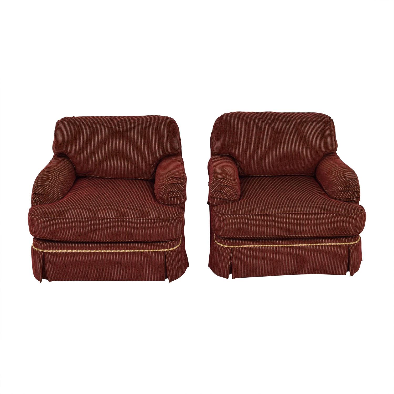 C.R. Lane C.R. Lane Burgundy and Beige Lounge Chairs nj