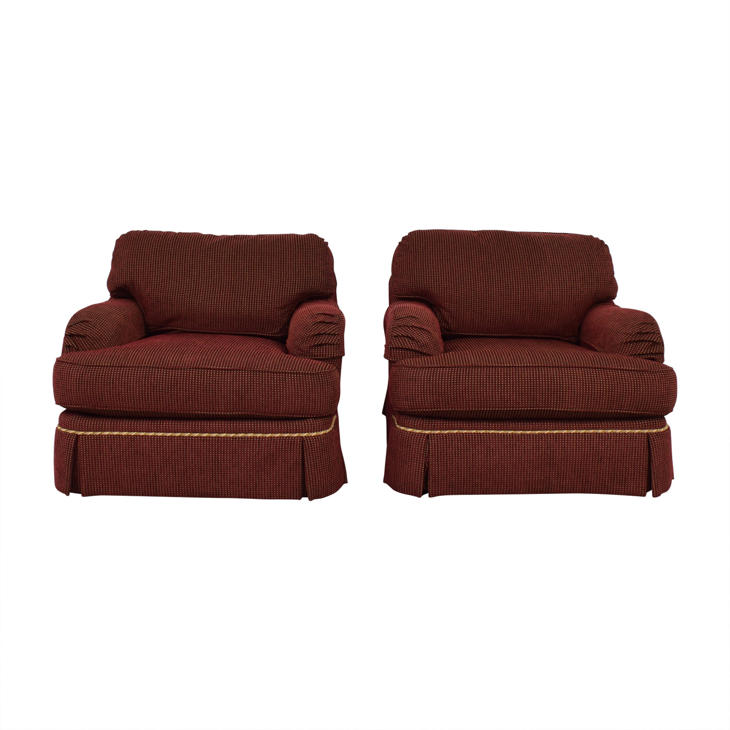 C.R. Lane C.R. Lane Burgundy and Beige Lounge Chairs Accent Chairs