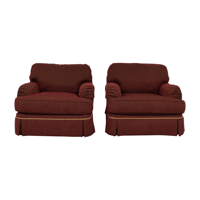 C.R. Lane C.R. Lane Burgundy and Beige Lounge Chairs
