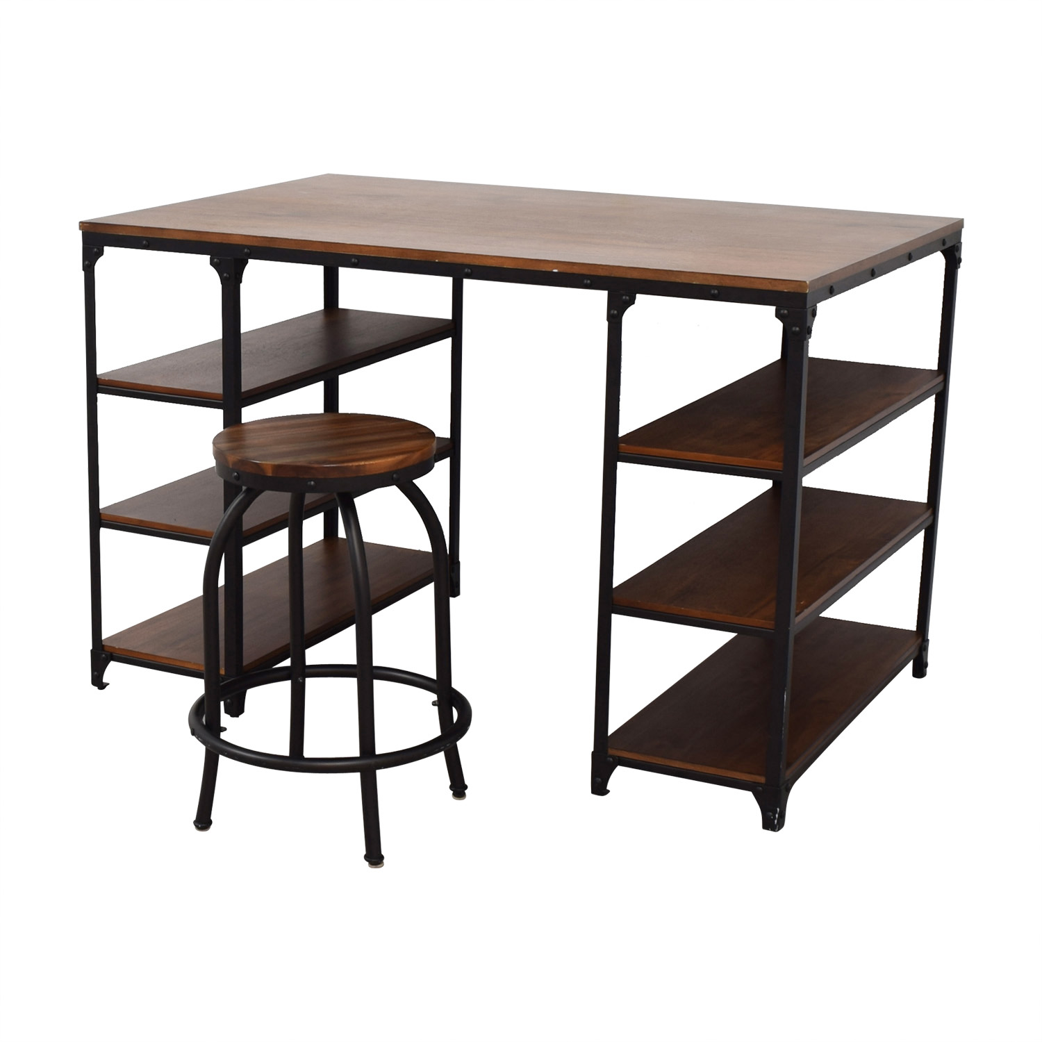 shop Raymour & Flanigan Lorimer Counter Height Writing Desk with Stool Raymour & Flanigan