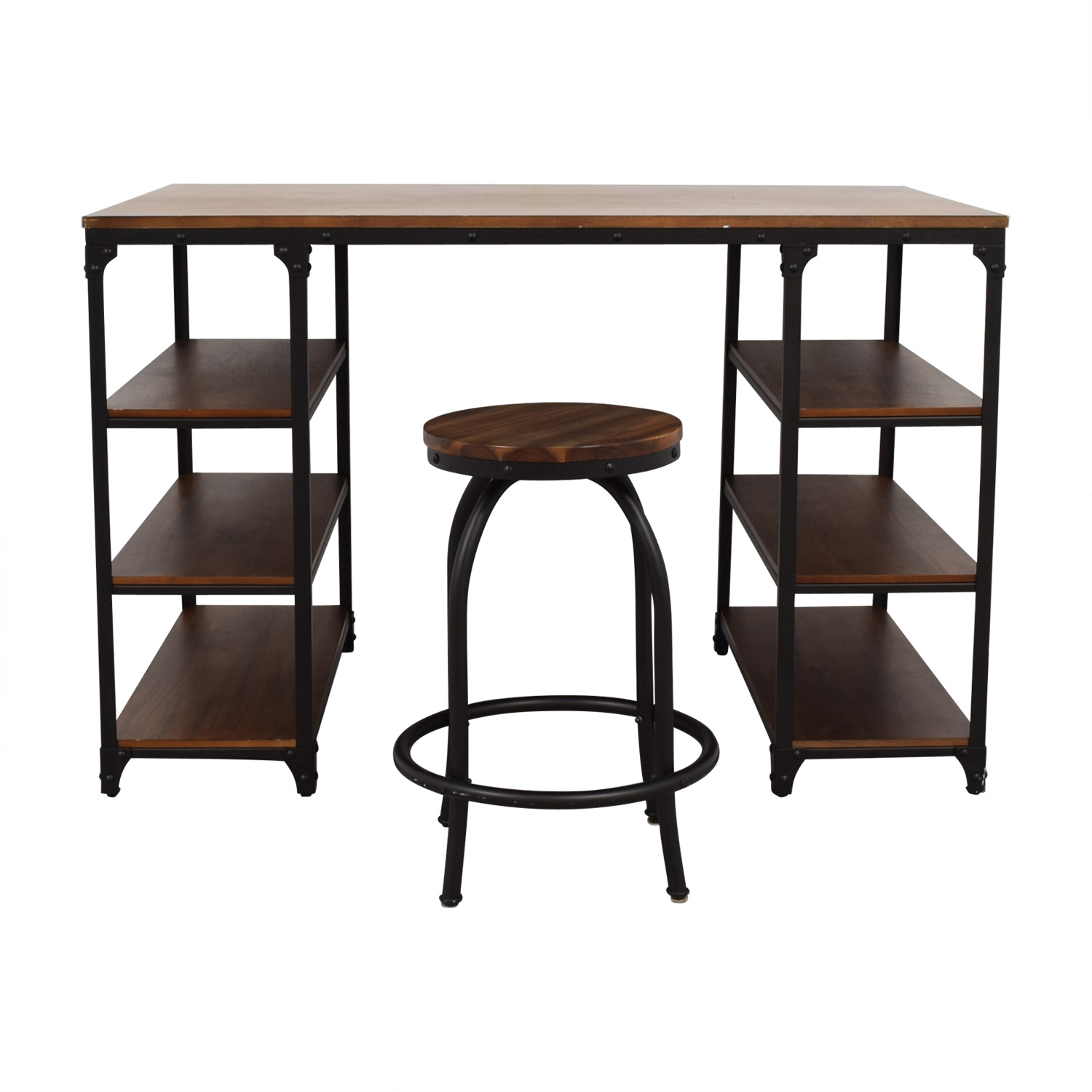 Raymour & Flanigan Lorimer Counter Height Writing Desk with Stool / Tables