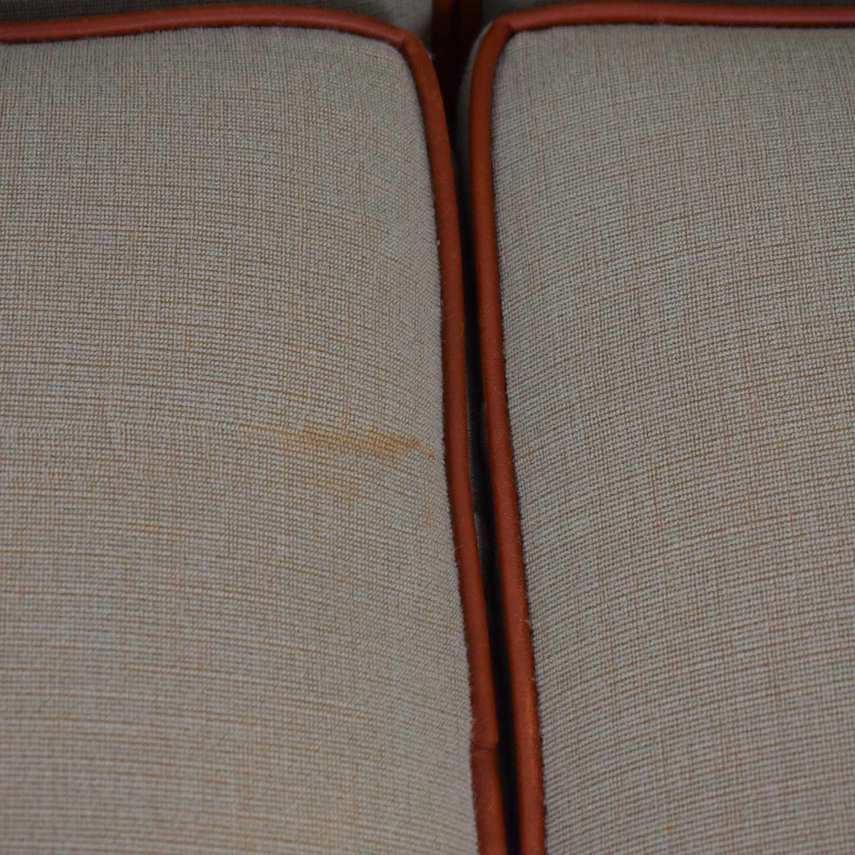Mattaliano Mattaliano Beige with Cognac Leather Trimmed Three-Cushion Sofa dimensions