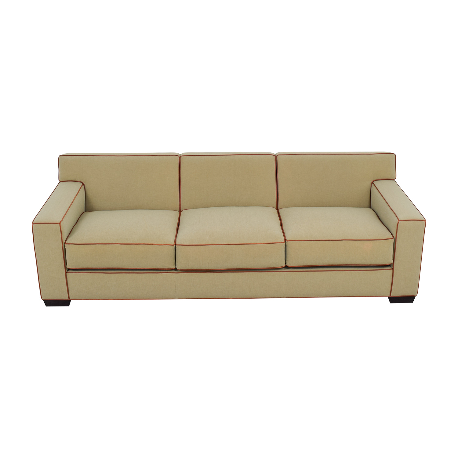 Mattaliano Mattaliano Beige with Cognac Leather Trimmed Three-Cushion Sofa Sofas