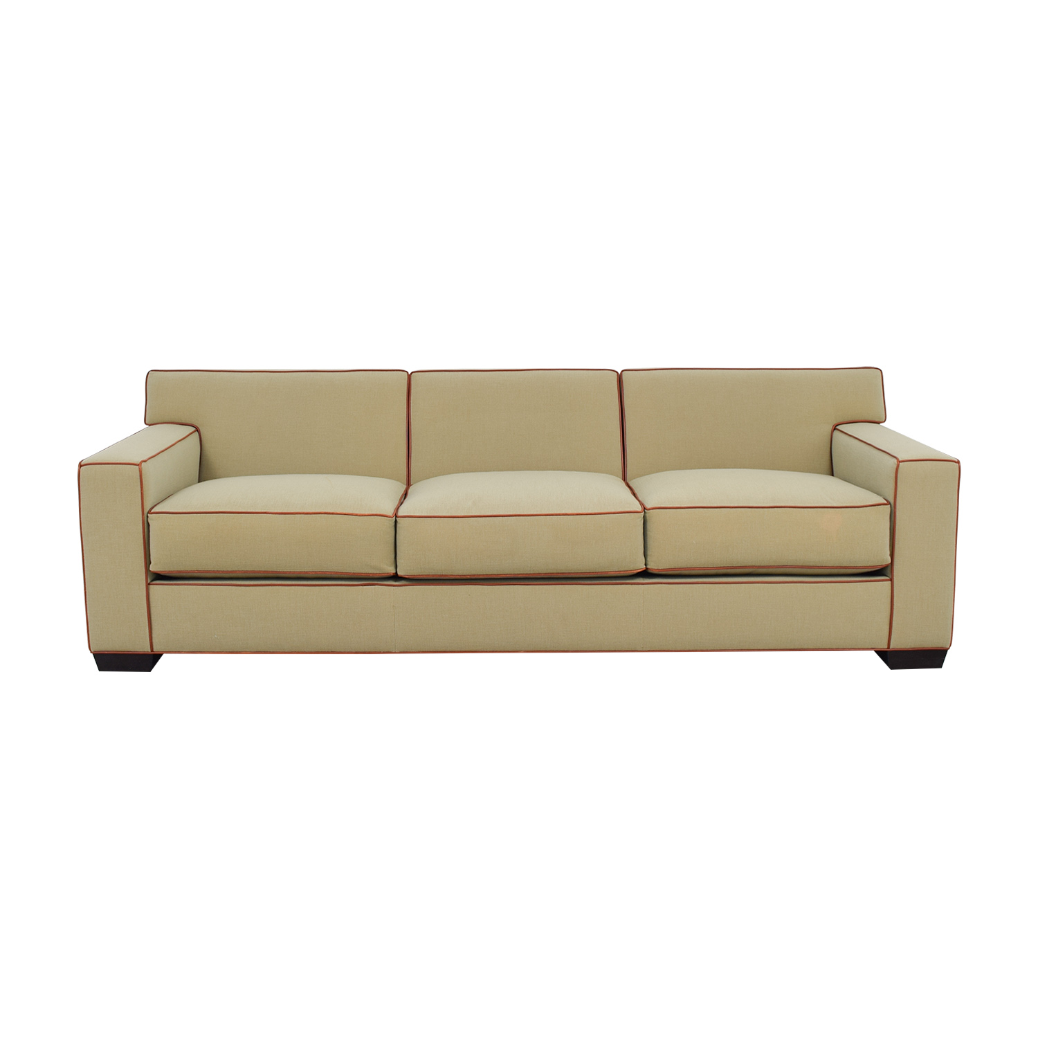 Mattaliano Mattaliano Beige with Cognac Leather Trimmed Three-Cushion Sofa nyc