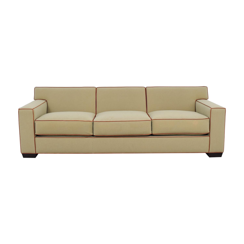 buy Mattaliano Beige with Cognac Leather Trimmed Three-Cushion Sofa Mattaliano