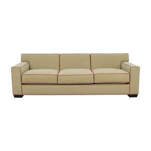 Mattaliano Mattaliano Beige with Cognac Leather Trimmed Three-Cushion Sofa coupon