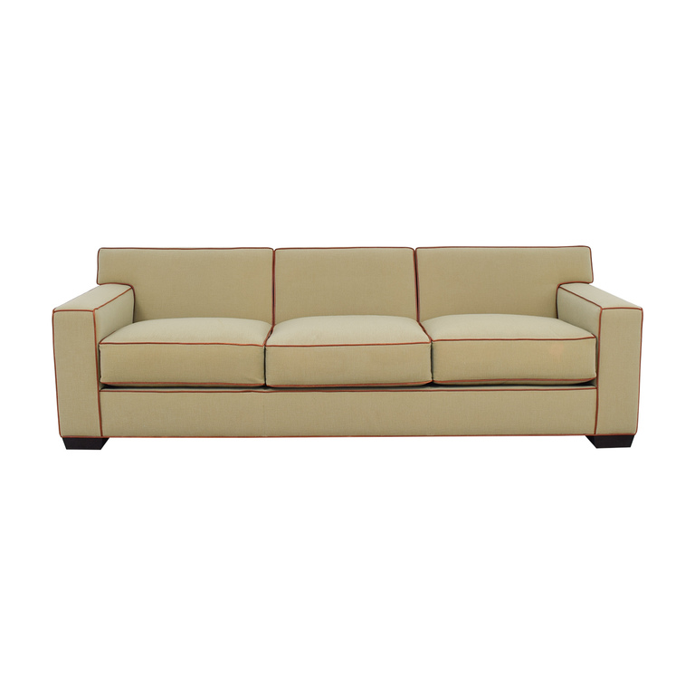 Mattaliano Mattaliano Beige with Cognac Leather Trimmed Three-Cushion Sofa coupon