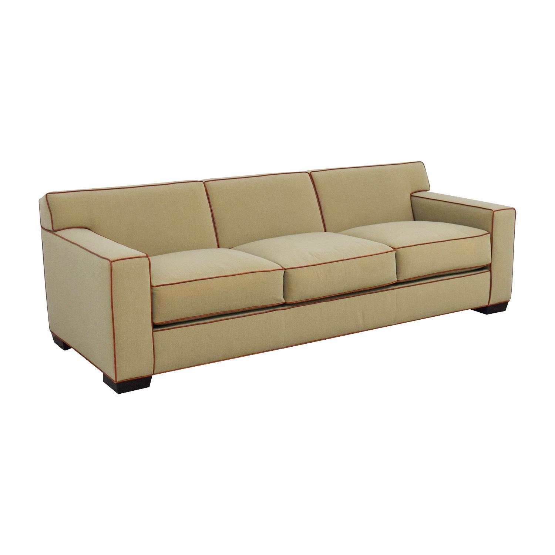 Mattaliano Beige with Cognac Leather Trimmed Three-Cushion Sofa Mattaliano