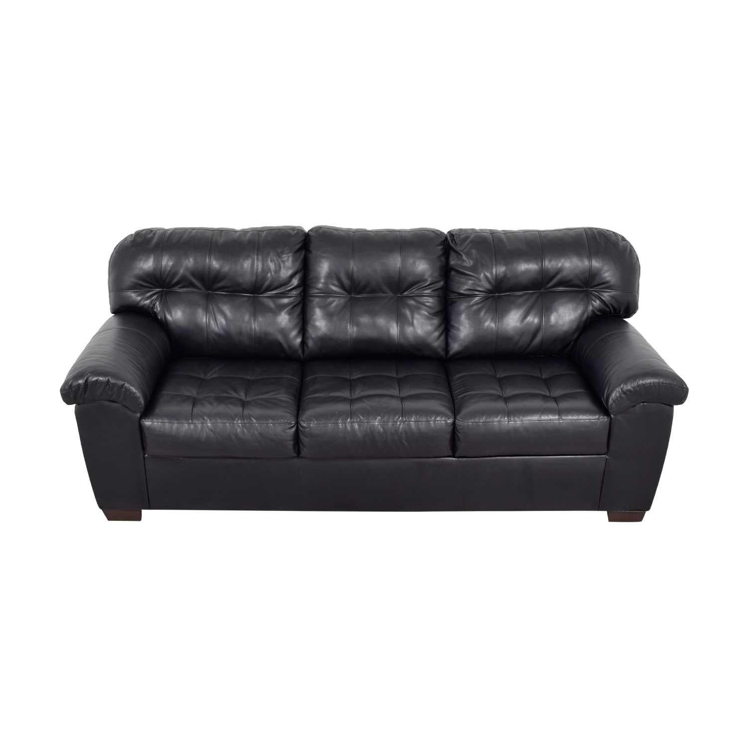 Black Tufted Leather Three-Cushion Couch / Sofas