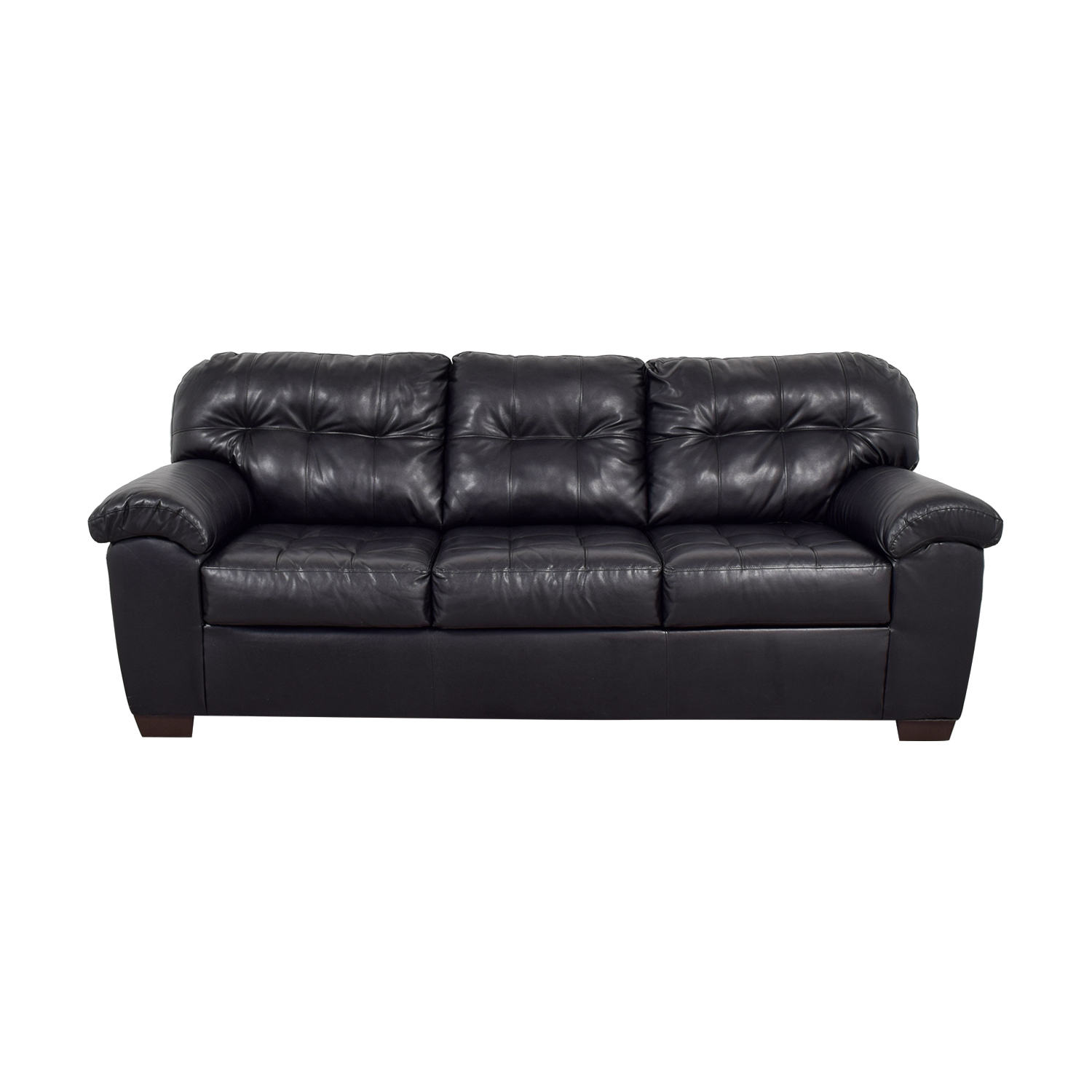 shop Black Tufted Leather Three-Cushion Couch  Sofas