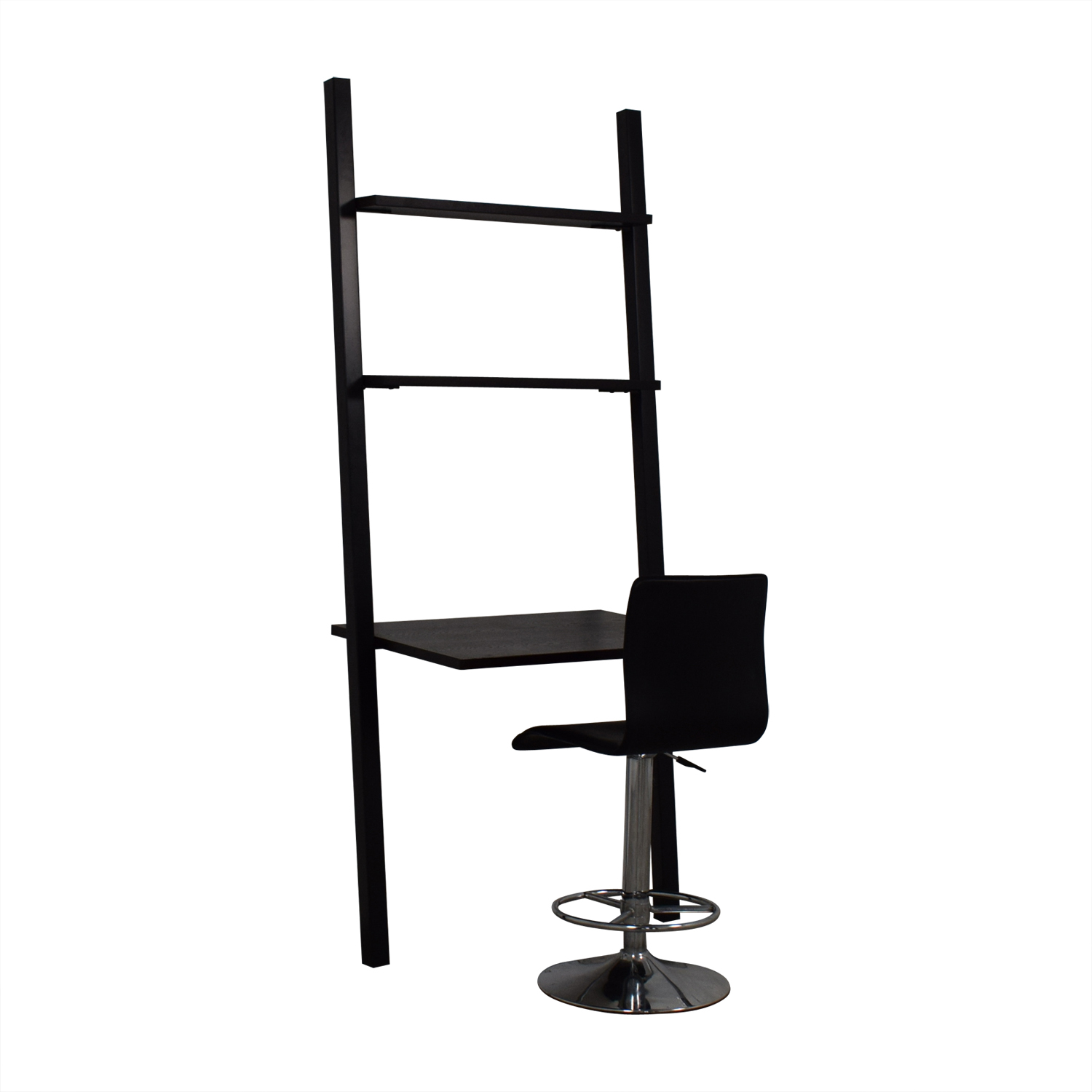 The Door Store The Door Store Ladder Shelf Desk with Modern Black Chair brown