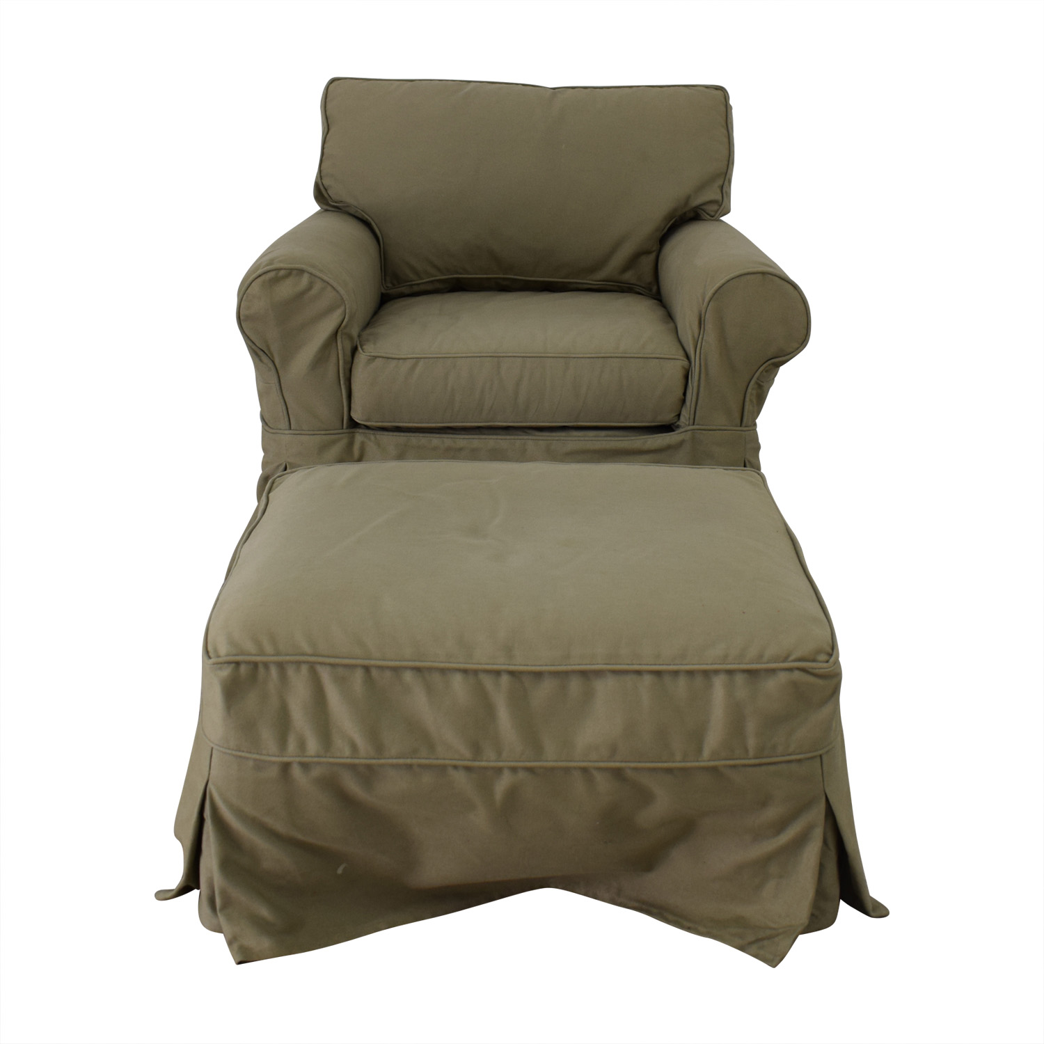 buy Pottery Barn Comfort Roll Arm Slip Covered Green Arm Chair and Ottoman Pottery Barn Sofas