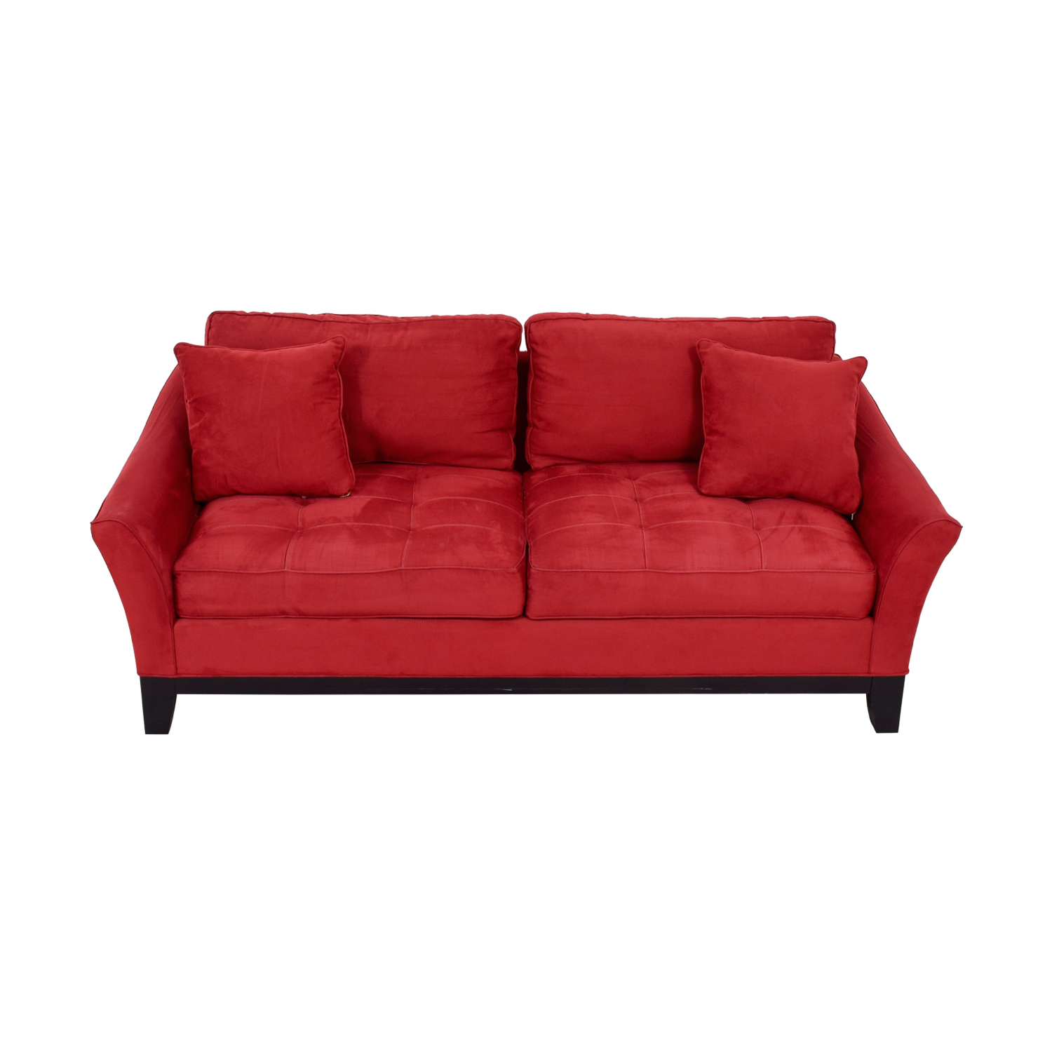 Raymour & Flanigan Raymour & Flanigan Rory Red Thufted Microfiber Two-Cushion Sofa nyc