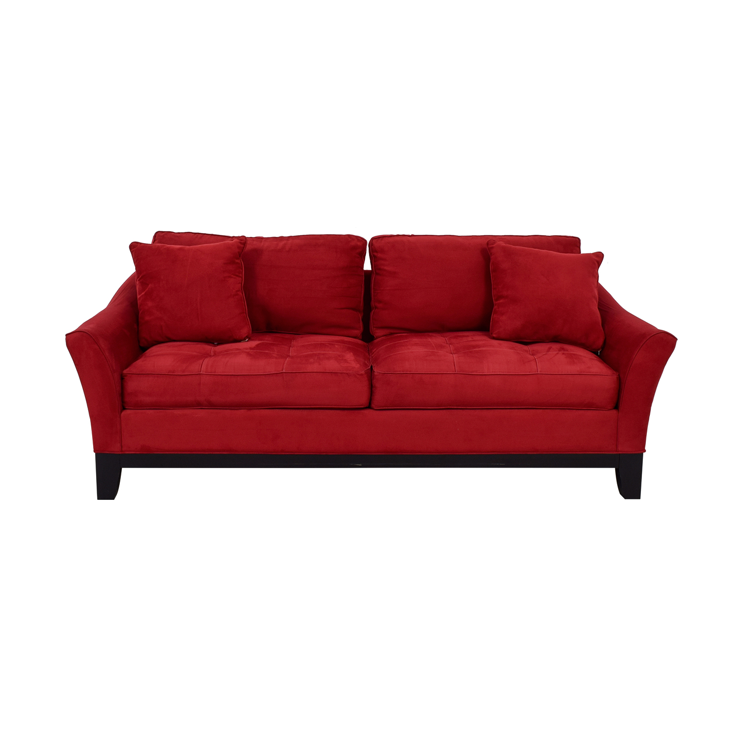 shop Raymour & Flanigan Rory Red Thufted Microfiber Two-Cushion Sofa Raymour & Flanigan Classic Sofas