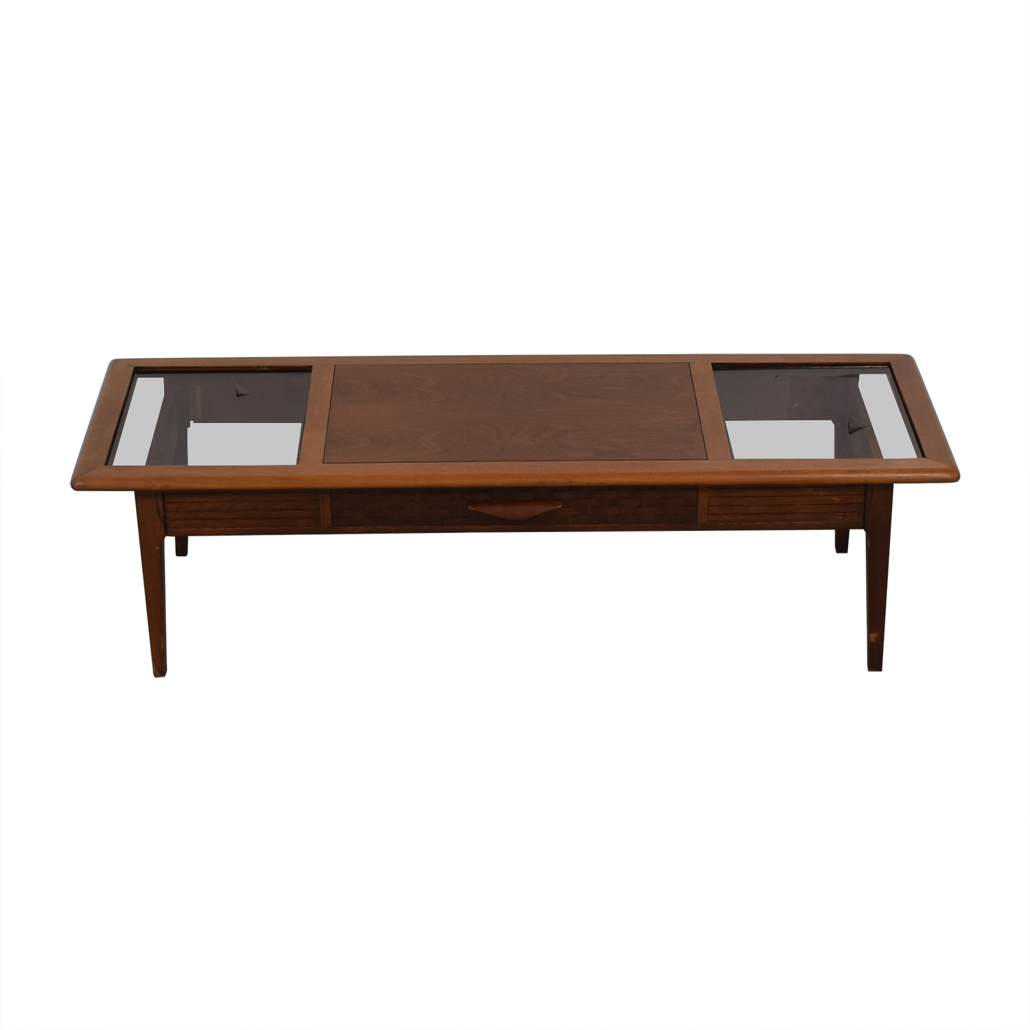 61% OFF - Lane Furniture Lane Furniture Vintage Glass and Wood Coffee Table  / Tables