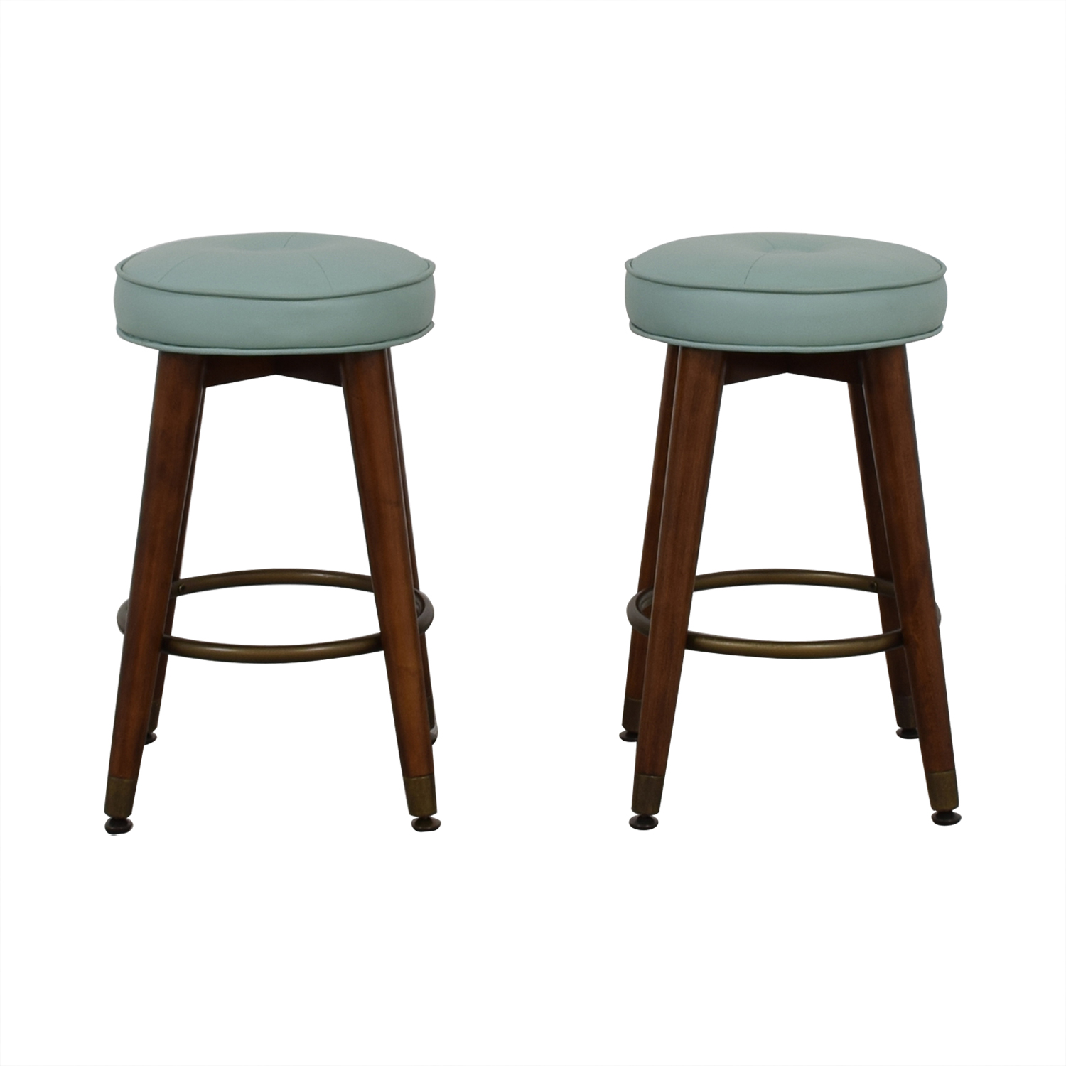 Teal and Wood Stools Stools