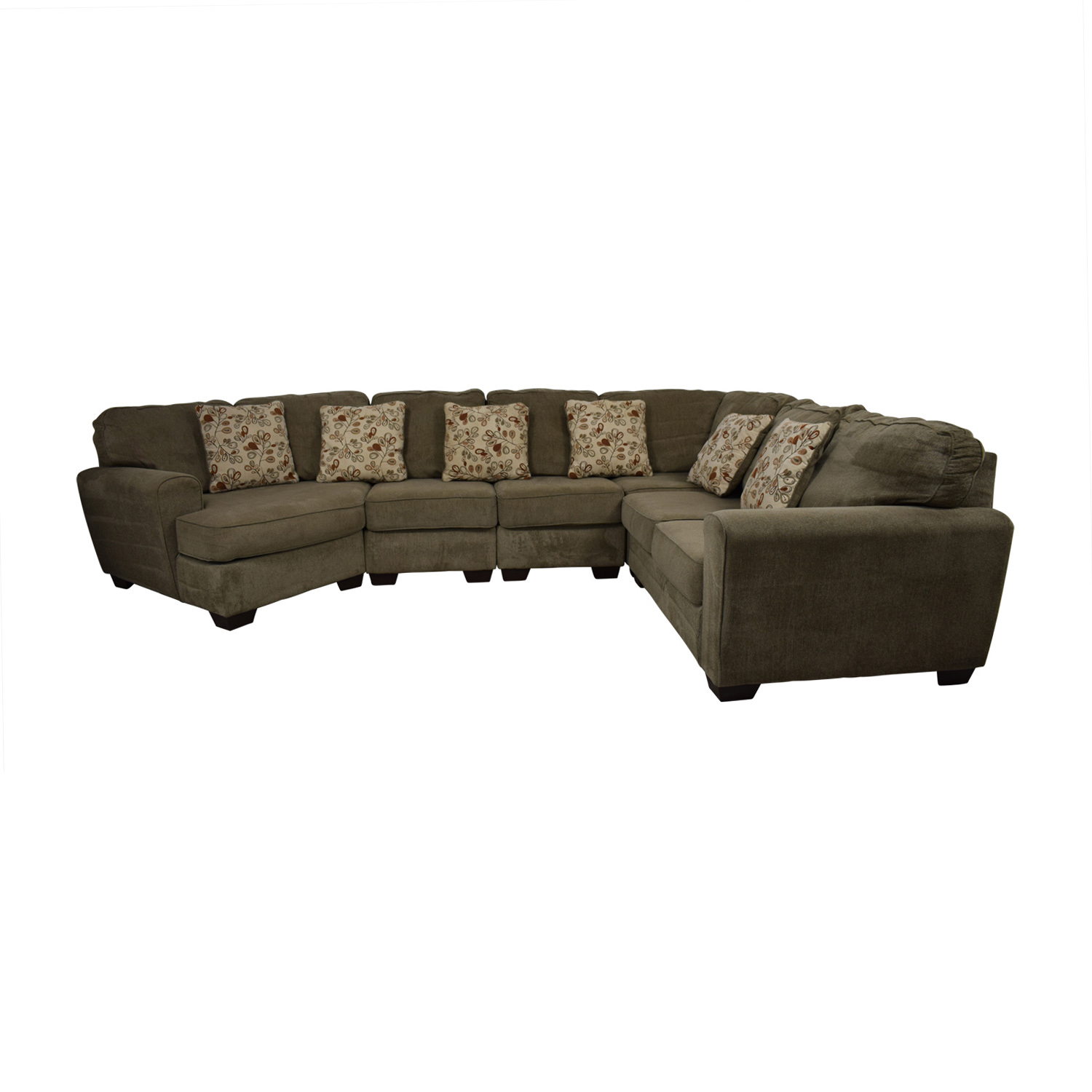 Ashley Furniture Ashley Furniture Tan L-Shaped Curved Sectional with Angled Seat discount