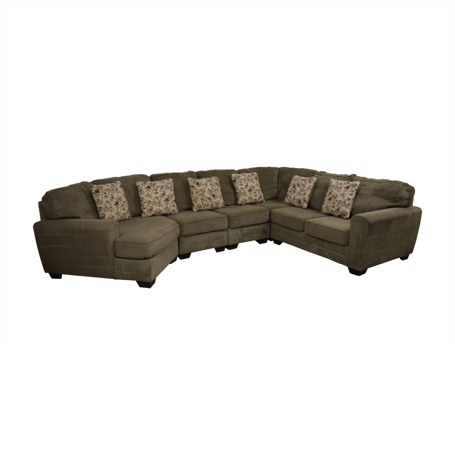 Ashley Furniture Tan L-Shaped Curved Sectional with Angled Seat Ashley Furniture