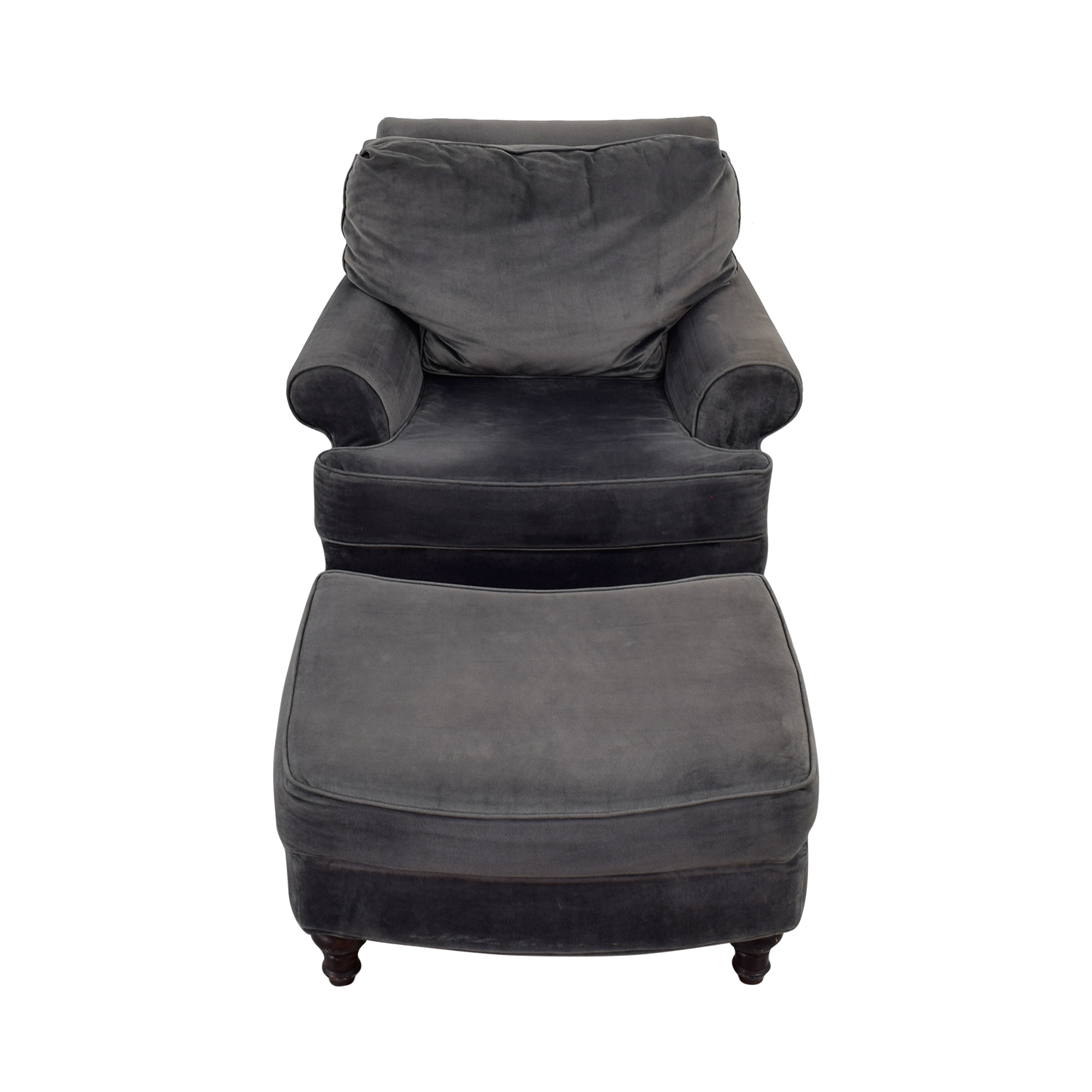 Performance Velvet Upholstered Chair with Ottoman dimensions