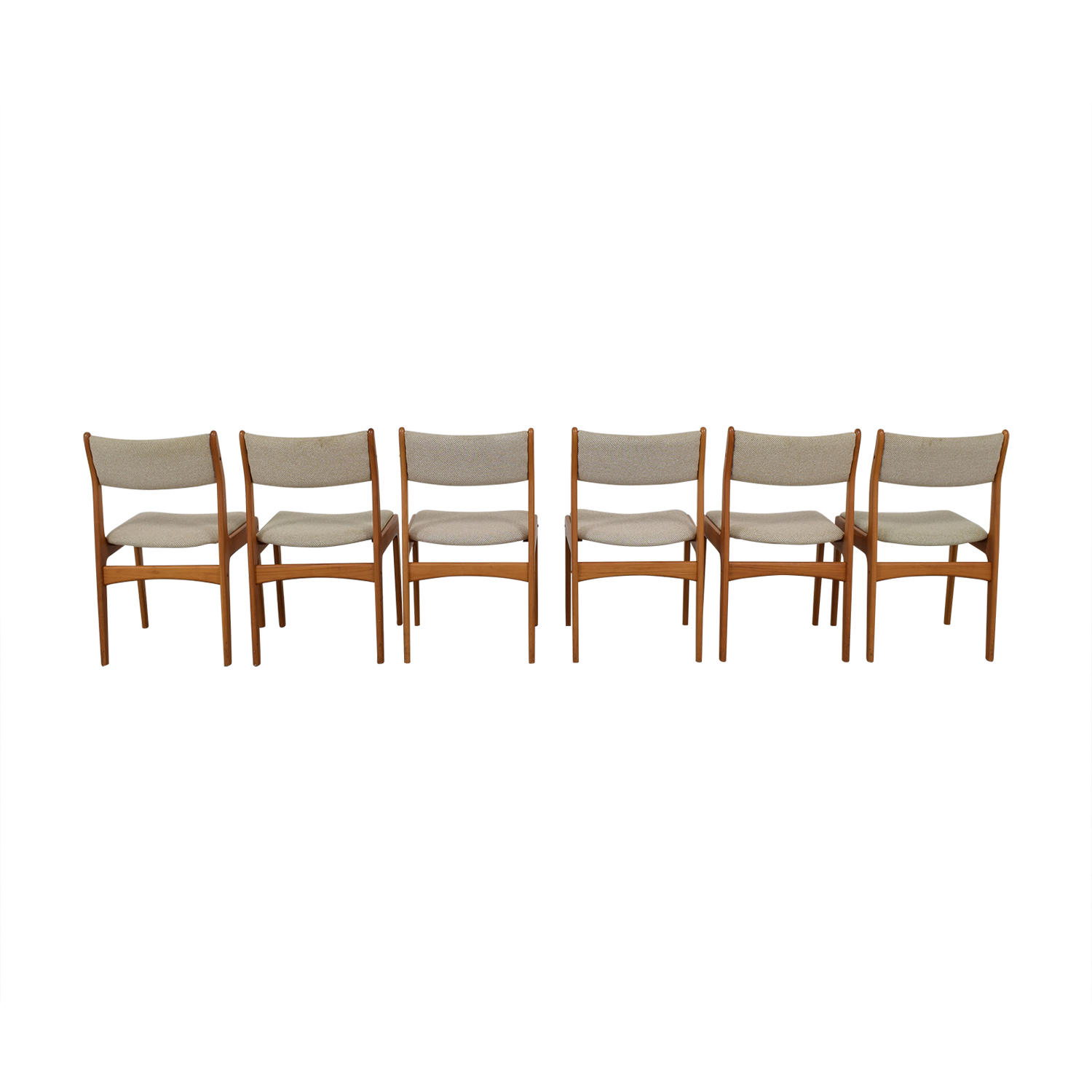 Wood and Beige Upholstered Dining Chairs used