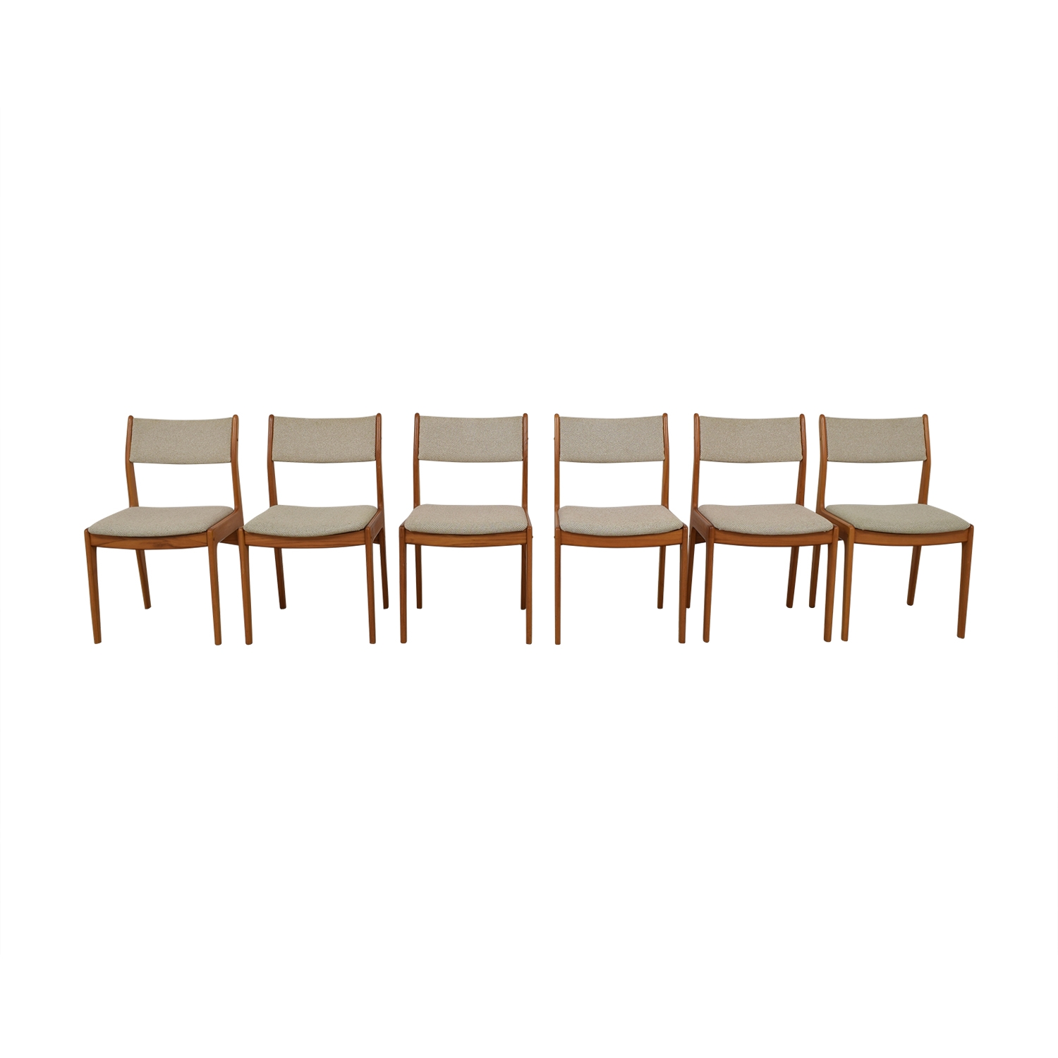 Wood and Beige Upholstered Dining Chairs / Dining Chairs