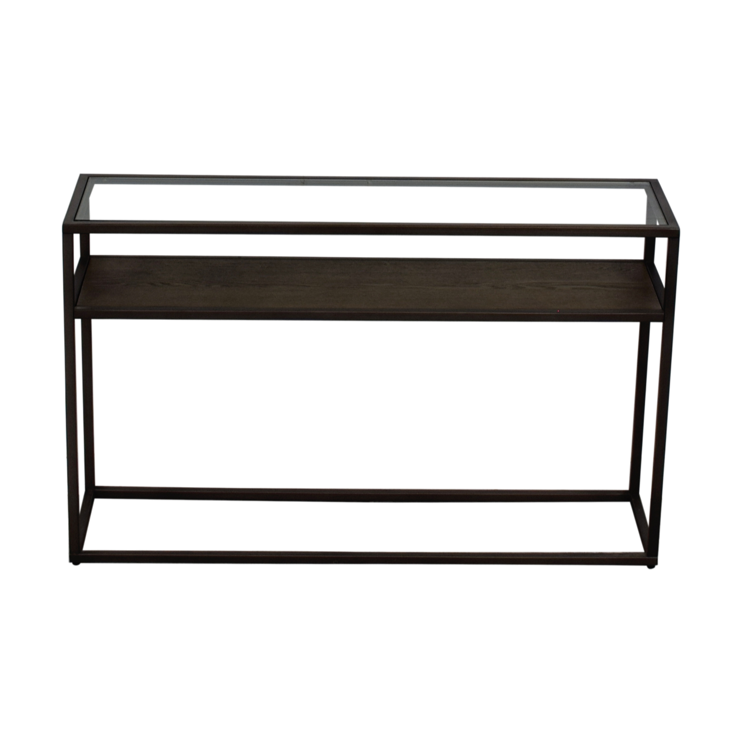 Crate & Barrel Switch Glass Wood and Metal Console Table sale