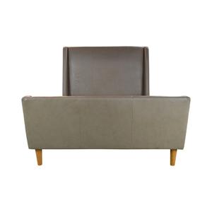 shop West Elm West Elm Grey Leather Upholstered Sleigh Full Bed Frame online