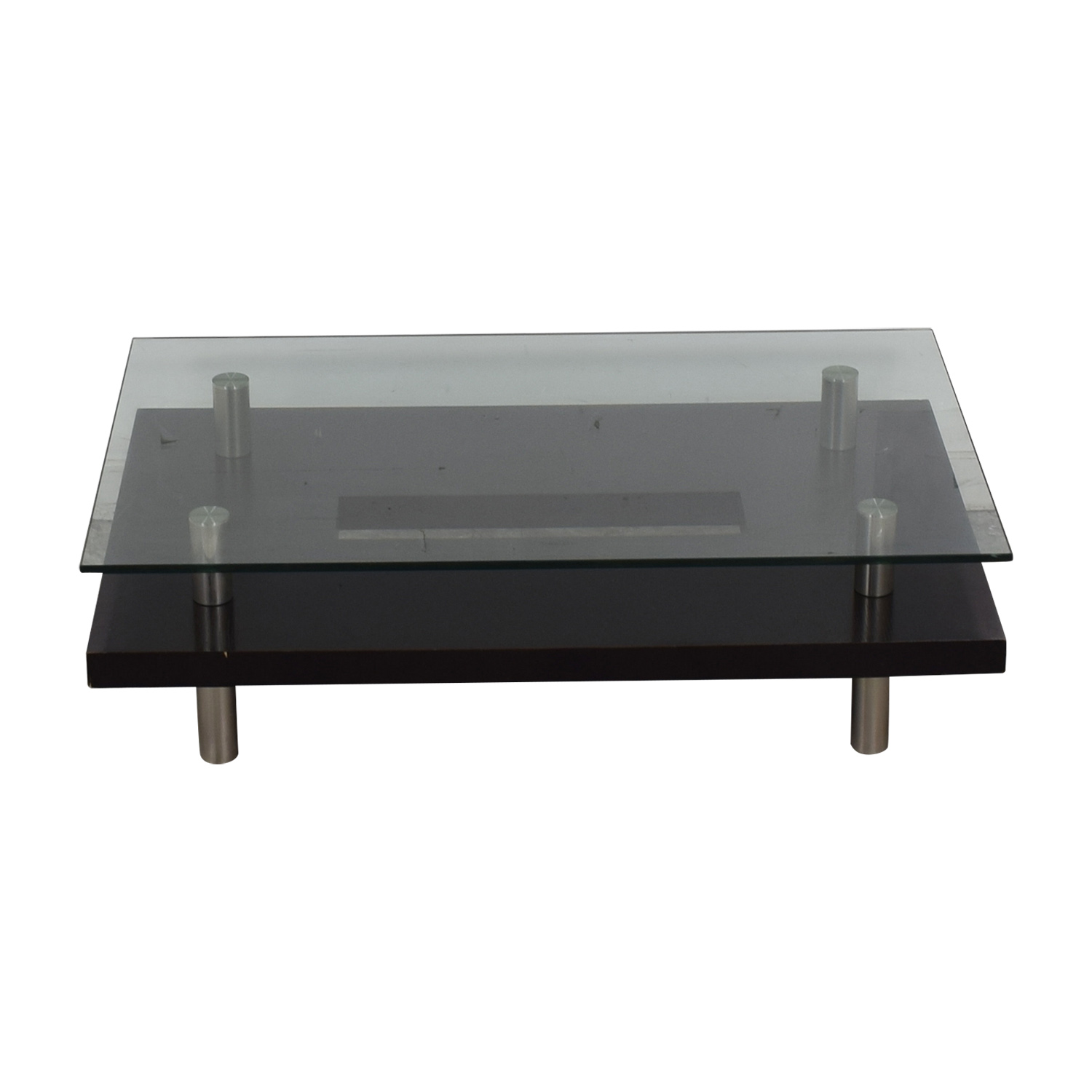 BDI BDI Layered Glass Wood and Chrome Coffee Table nyc