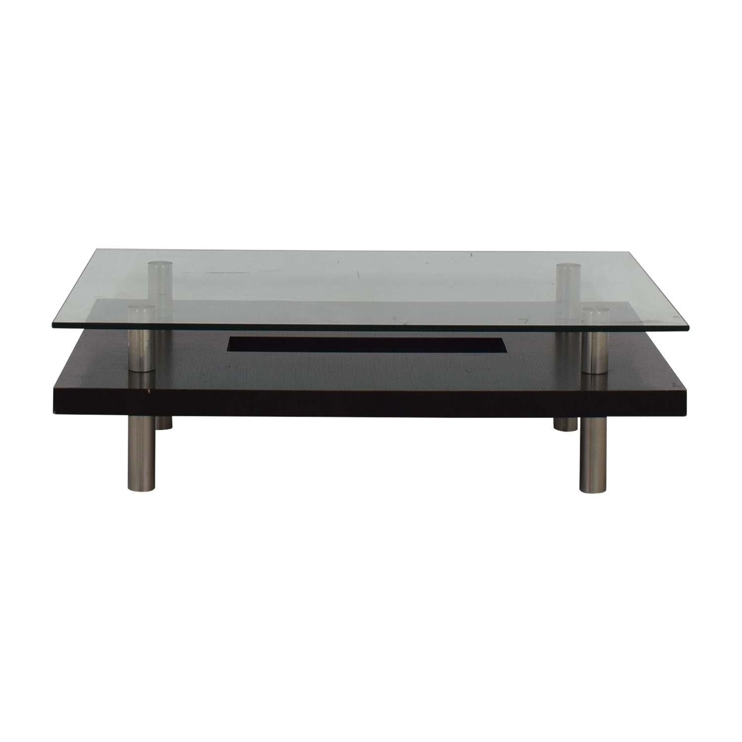 BDI BDI Layered Glass Wood and Chrome Coffee Table on sale