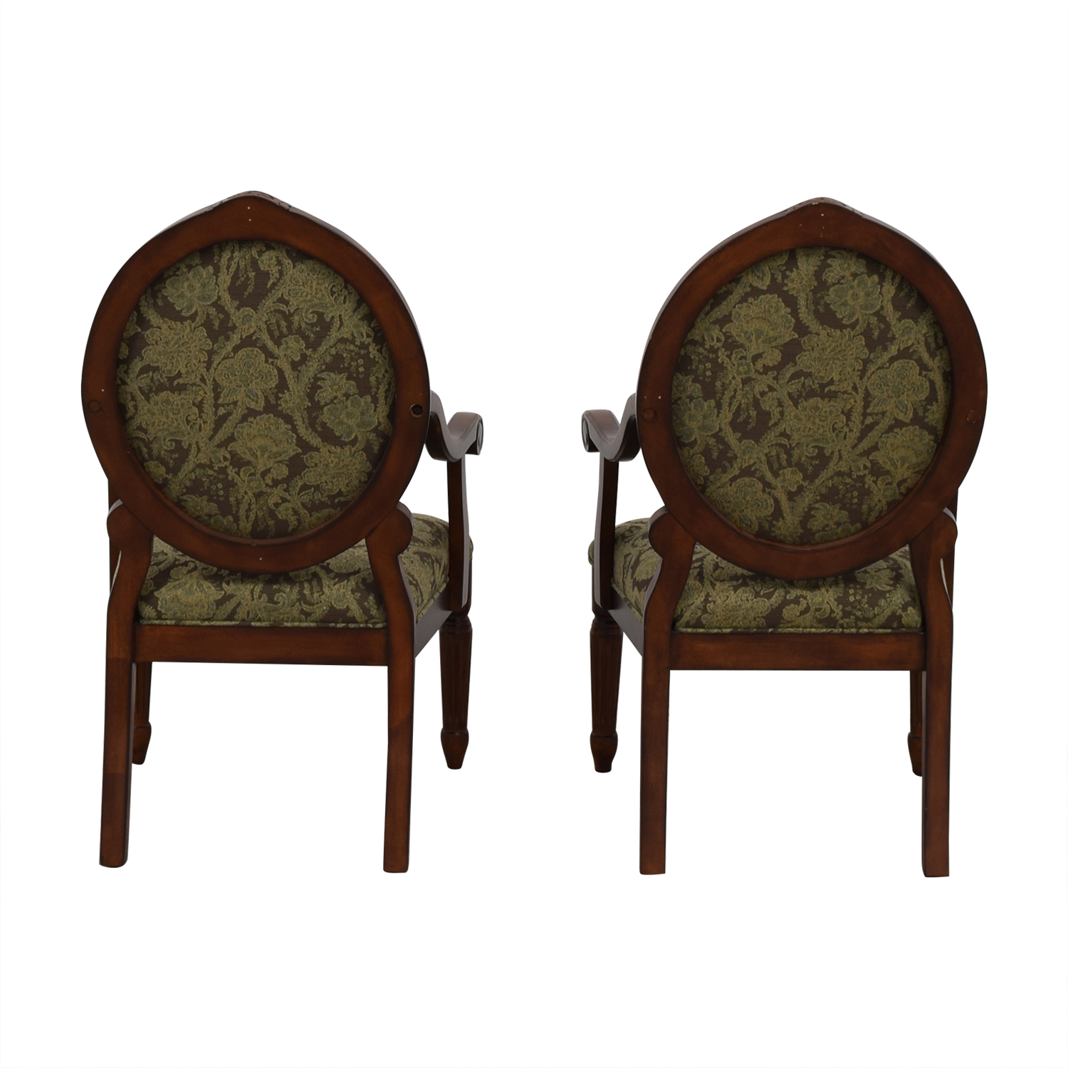 E & E Co E & E Co Floral Upholstered Wood Chairs second hand