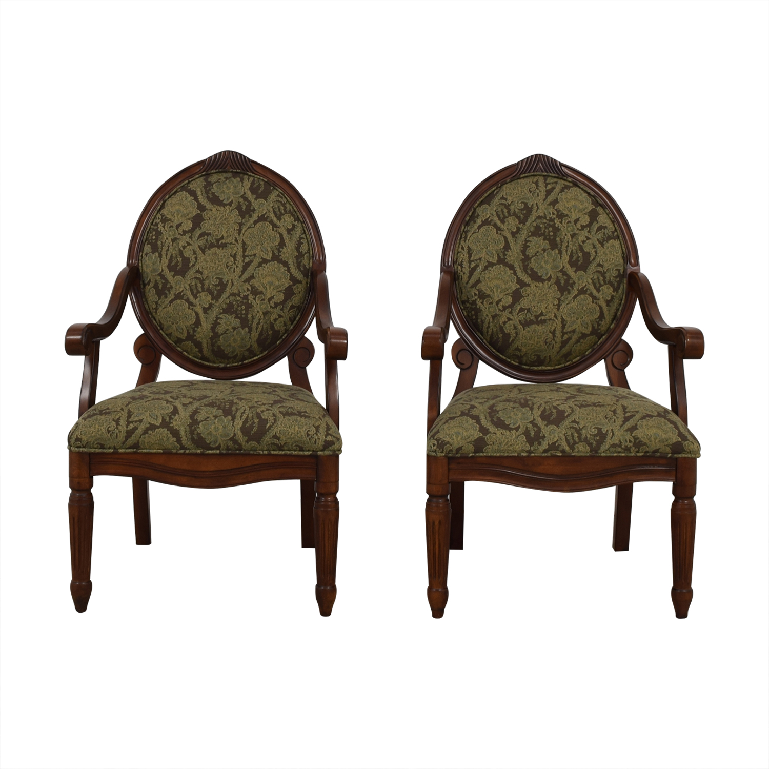 E & E Co E & E Co Floral Upholstered Wood Chairs nyc