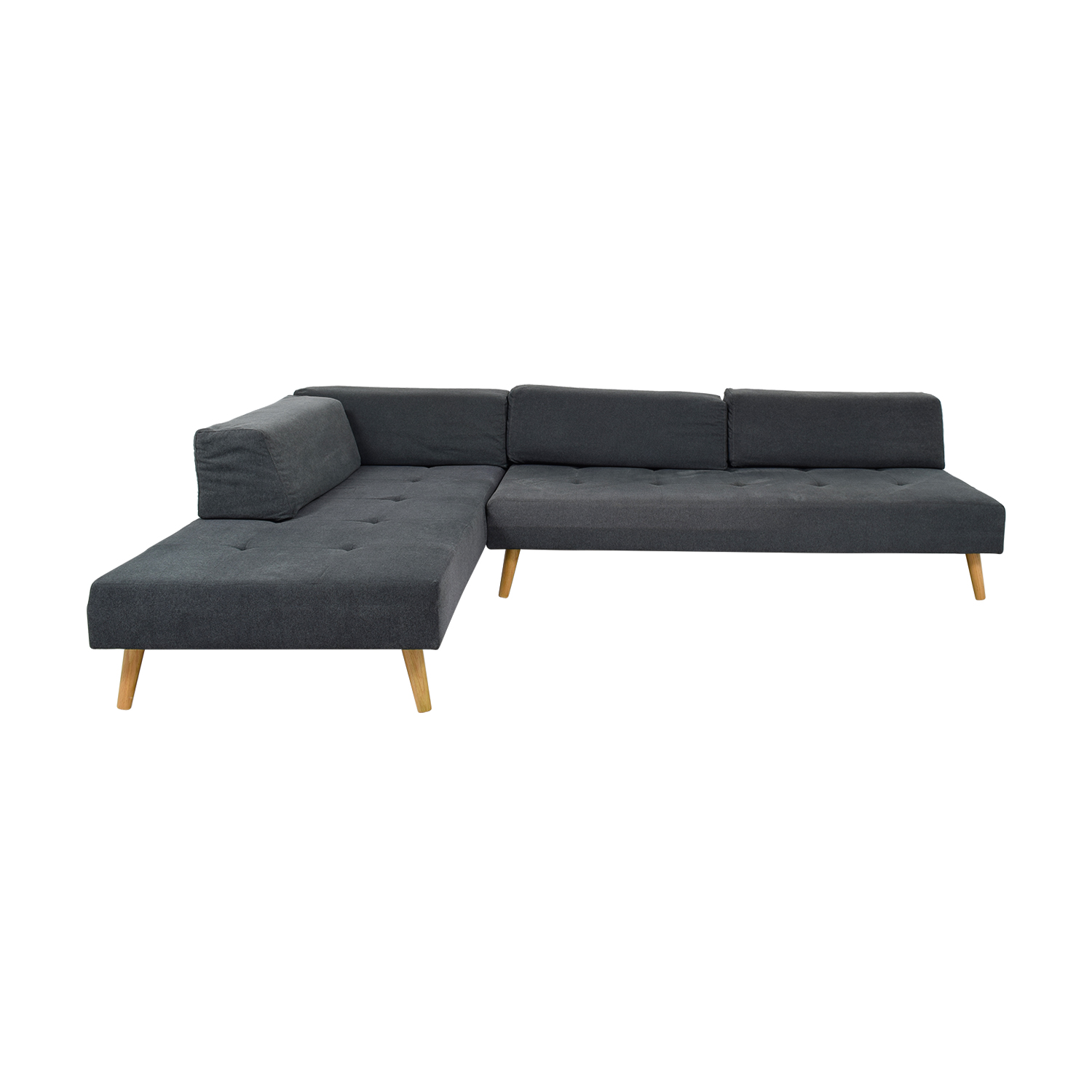 shop West Elm Retro Tillary Grey Tufted Chaise Sectional West Elm Sectionals