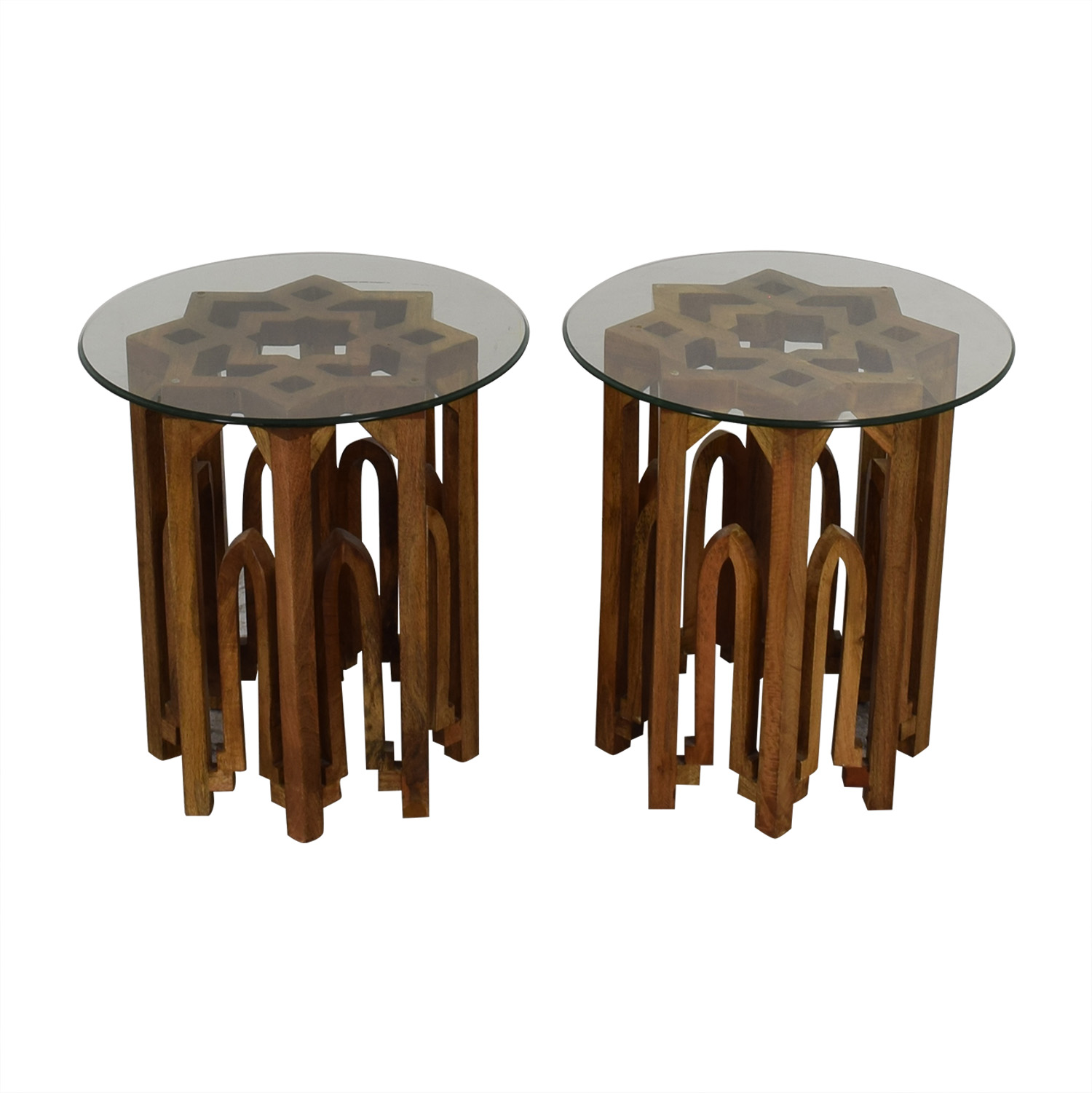 Round Glass Top Wood Base End Tables nyc