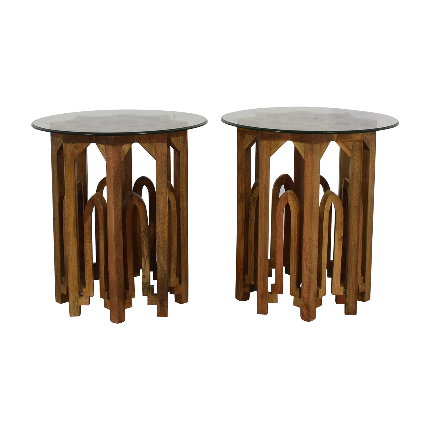 Round Glass Top Wood Base End Tables for sale