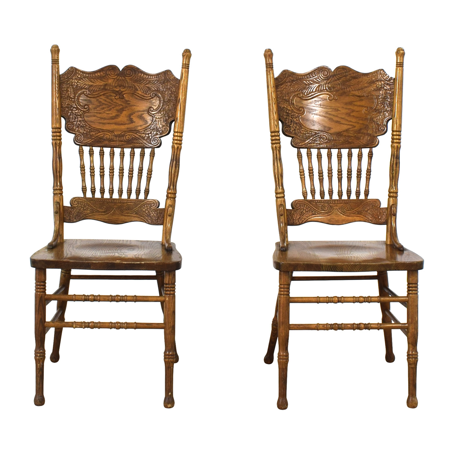 Oak Double Press Back Side Chairs brown