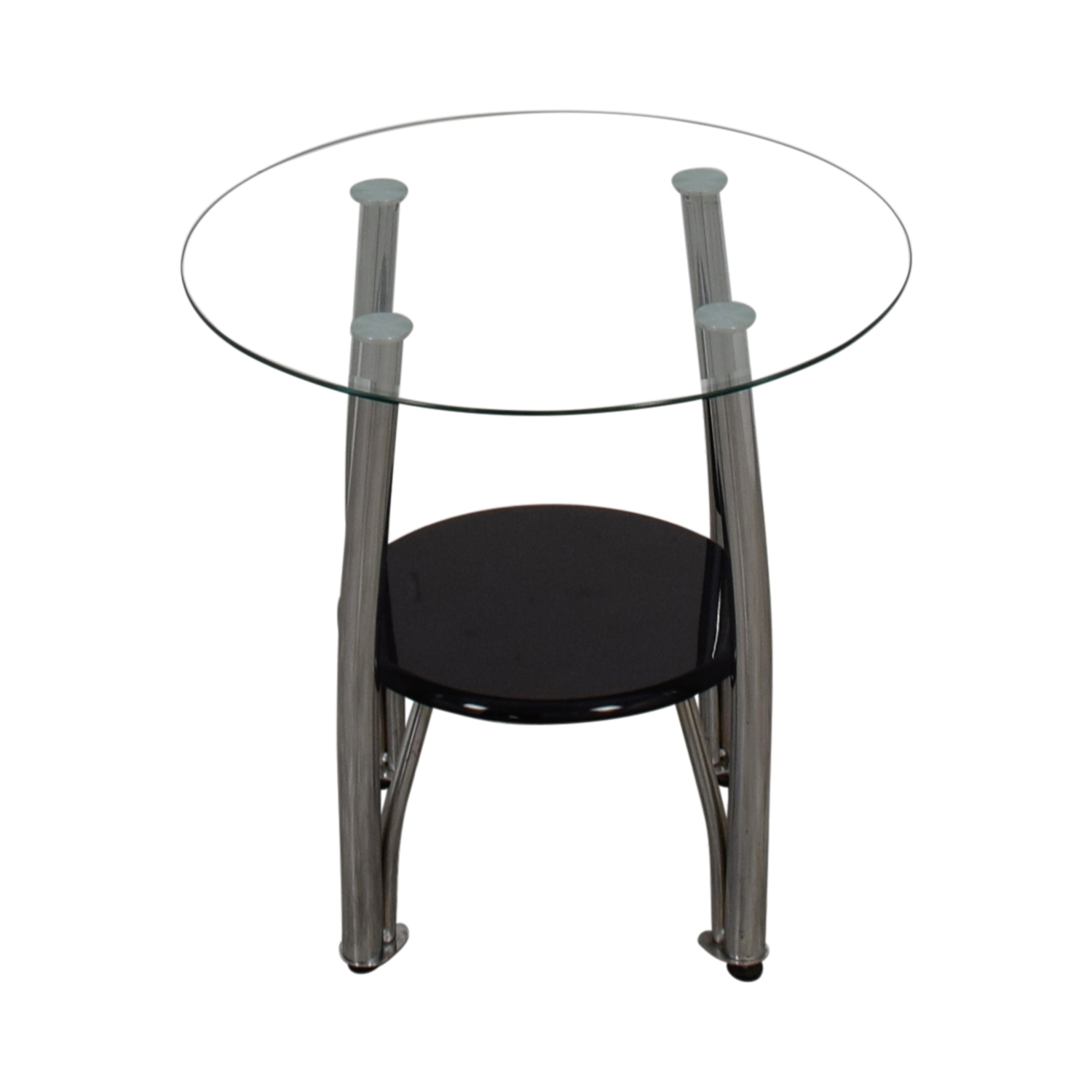 Ashley Furniture Ashley Furniture Round Glass and Black End Table black