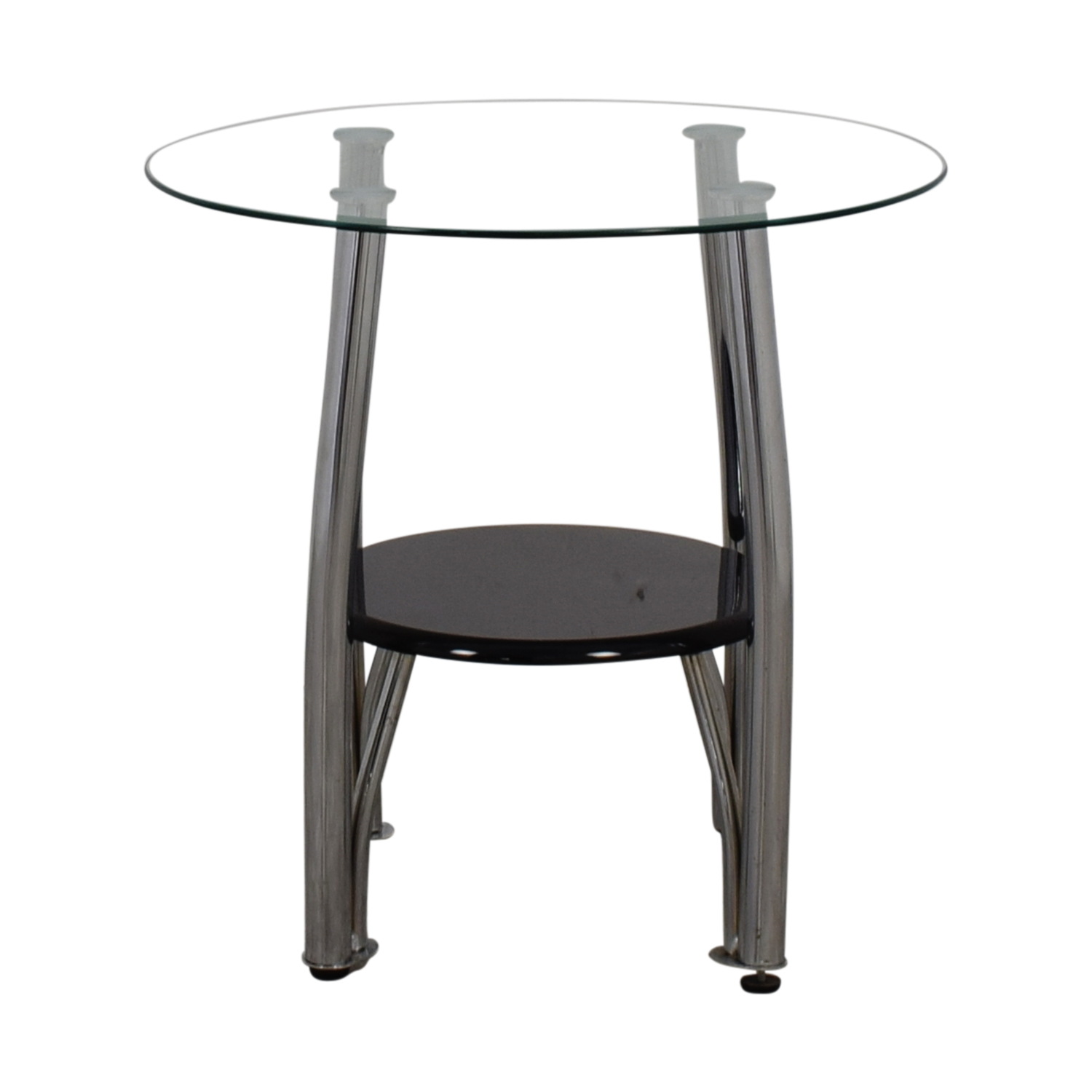 Ashley Furniture Round Glass And Black End Table Sale